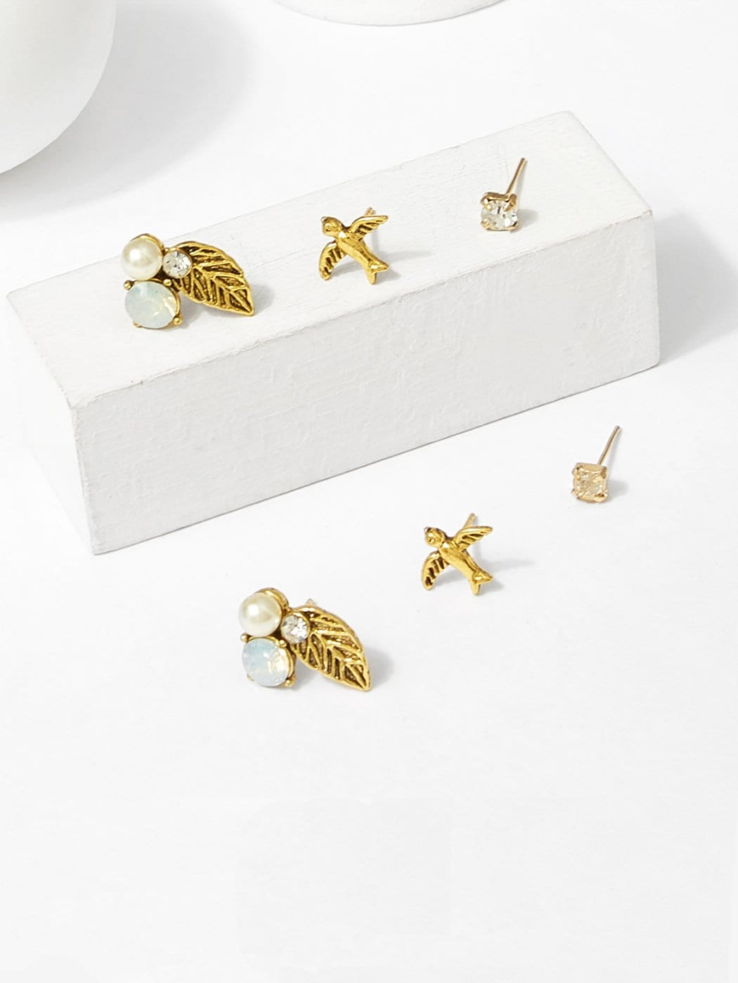Bird & Leaf Stud Earrings 3pairs