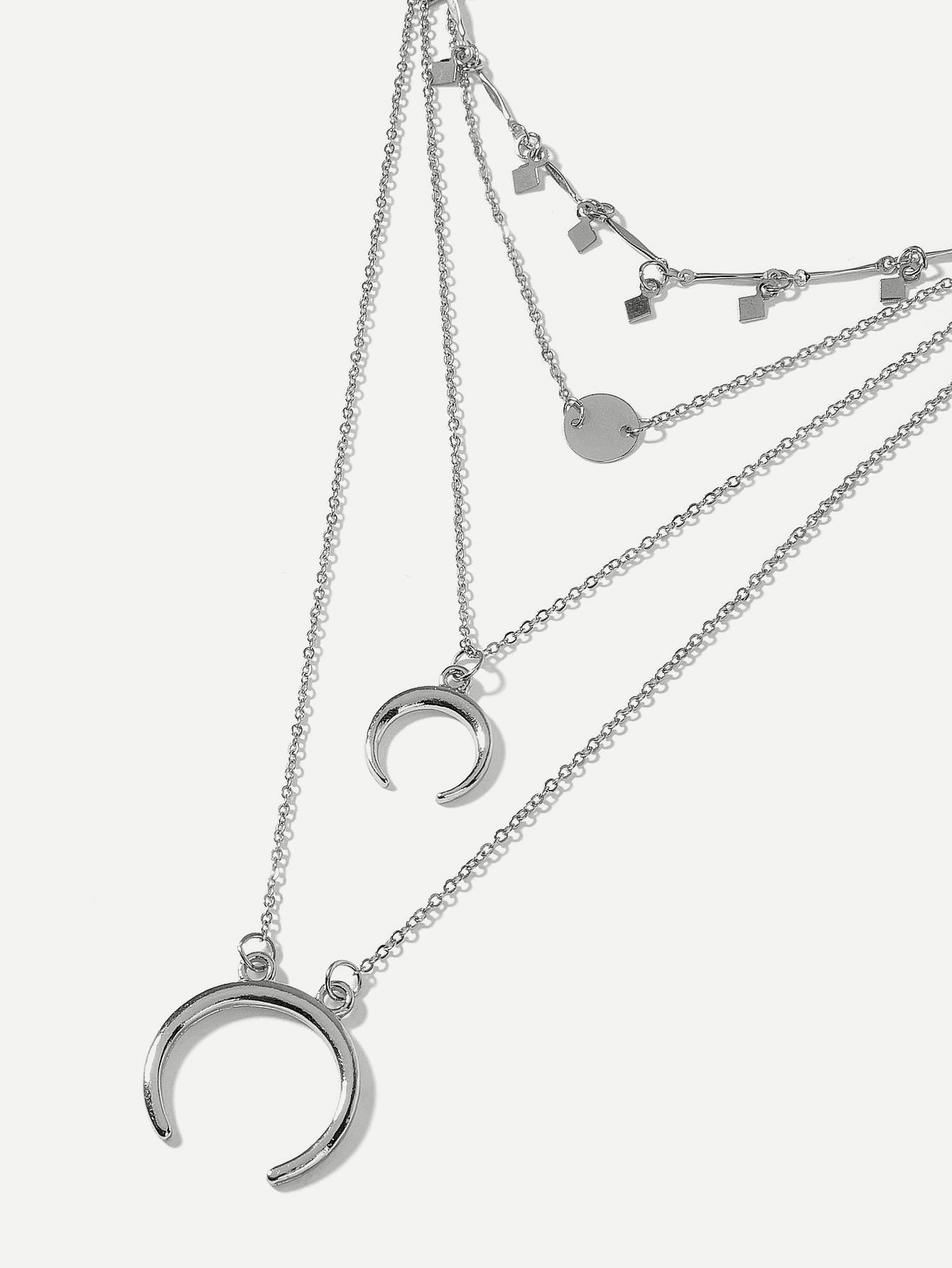 Incomplete Ring Pendant Layered Chain Necklace