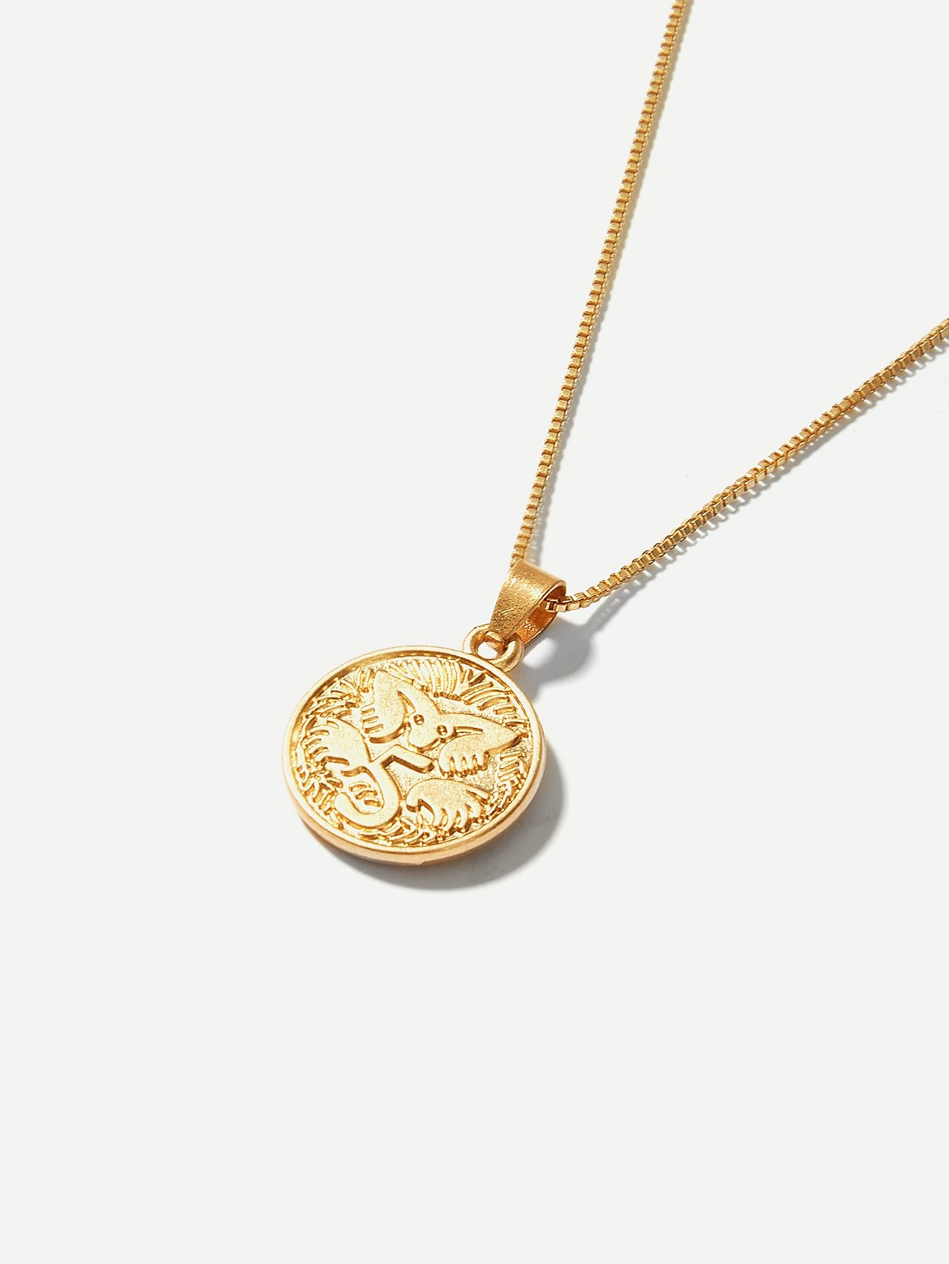 Figure Engraved Coin Pendant Necklace