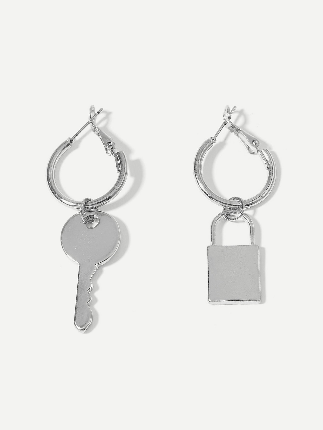 Lock & Key Mismatched Drop Earrings 1pair