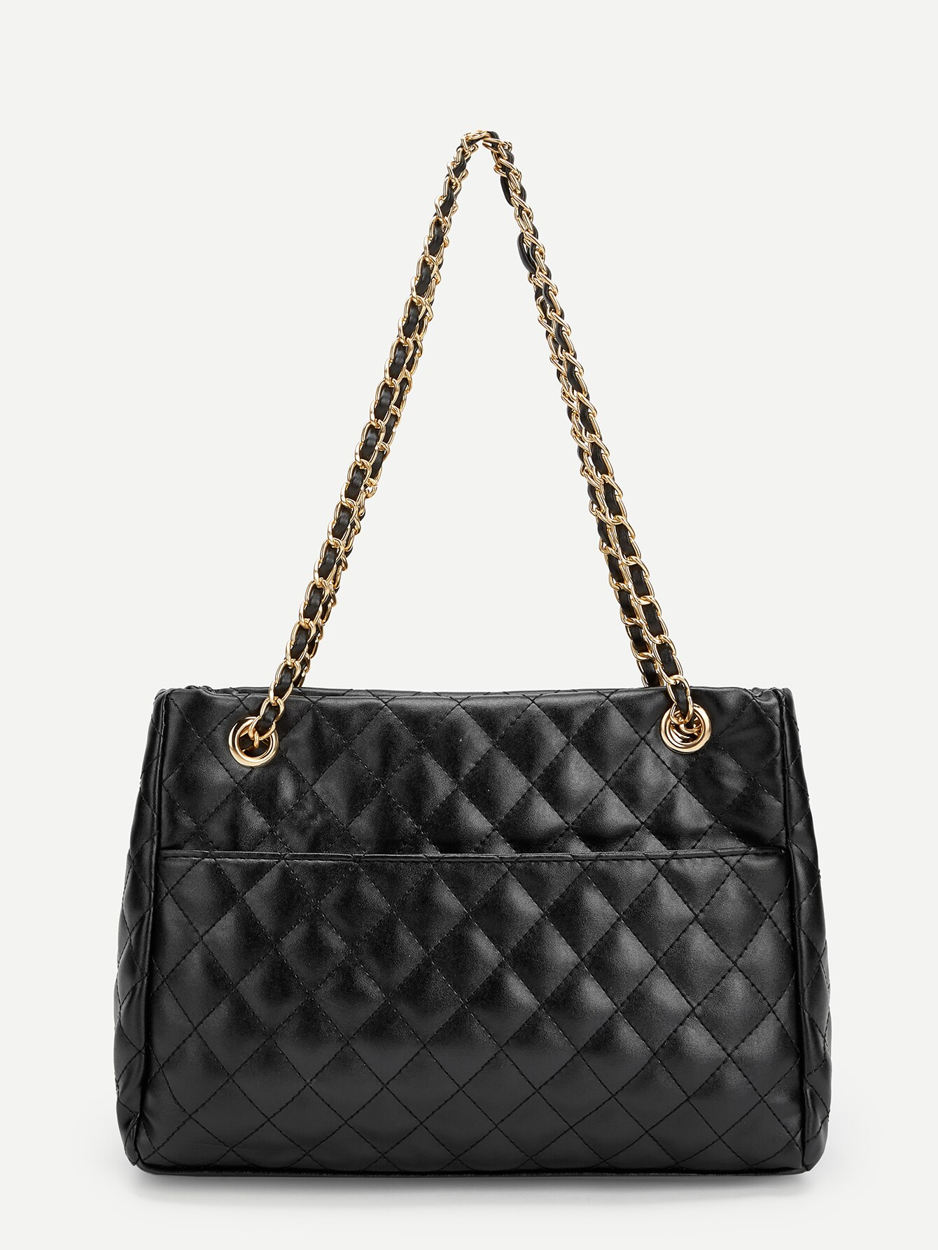 Quilted Satchel Bag With Chain