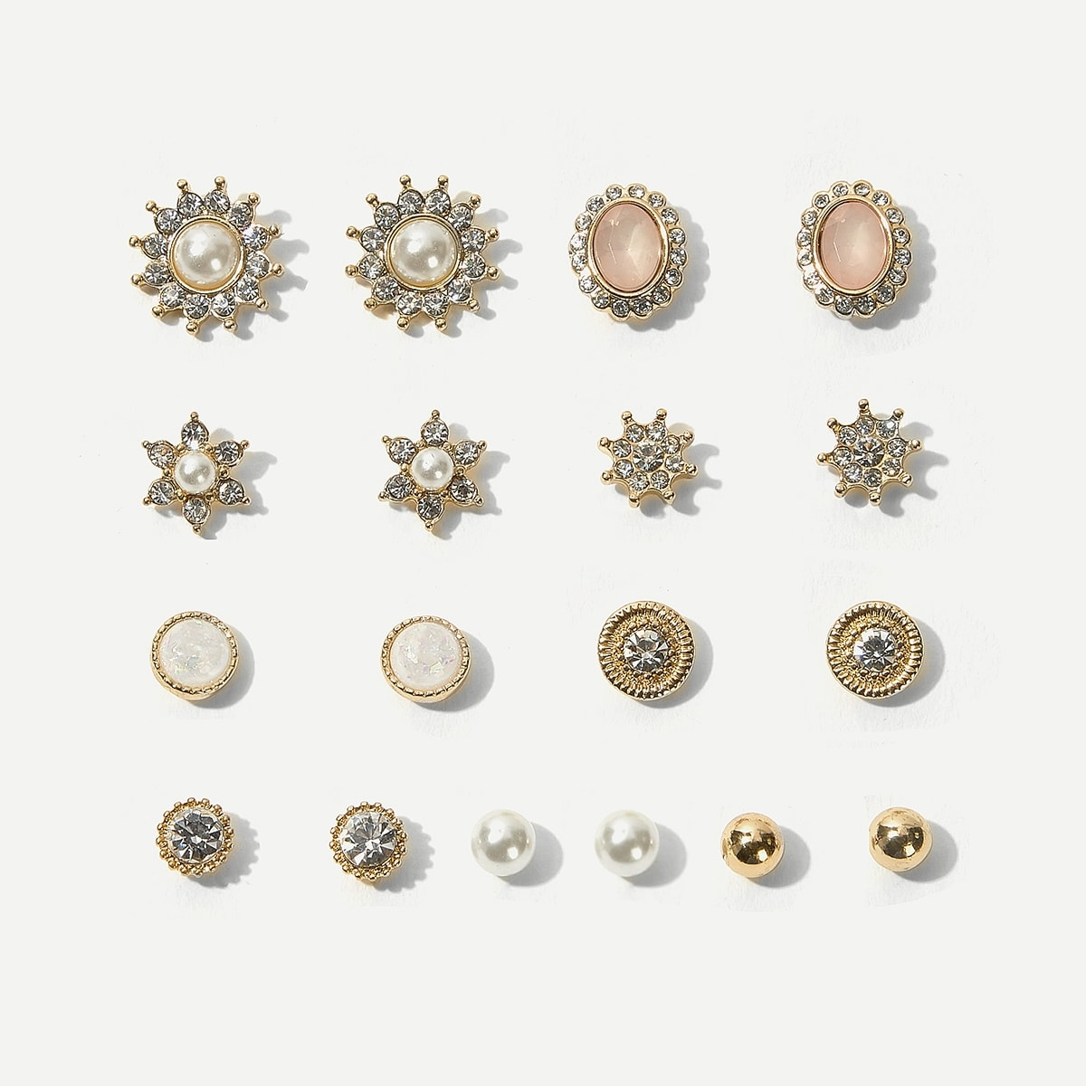 Faux Pearl Flower & Rhinestone Stud Earrings 9pairs