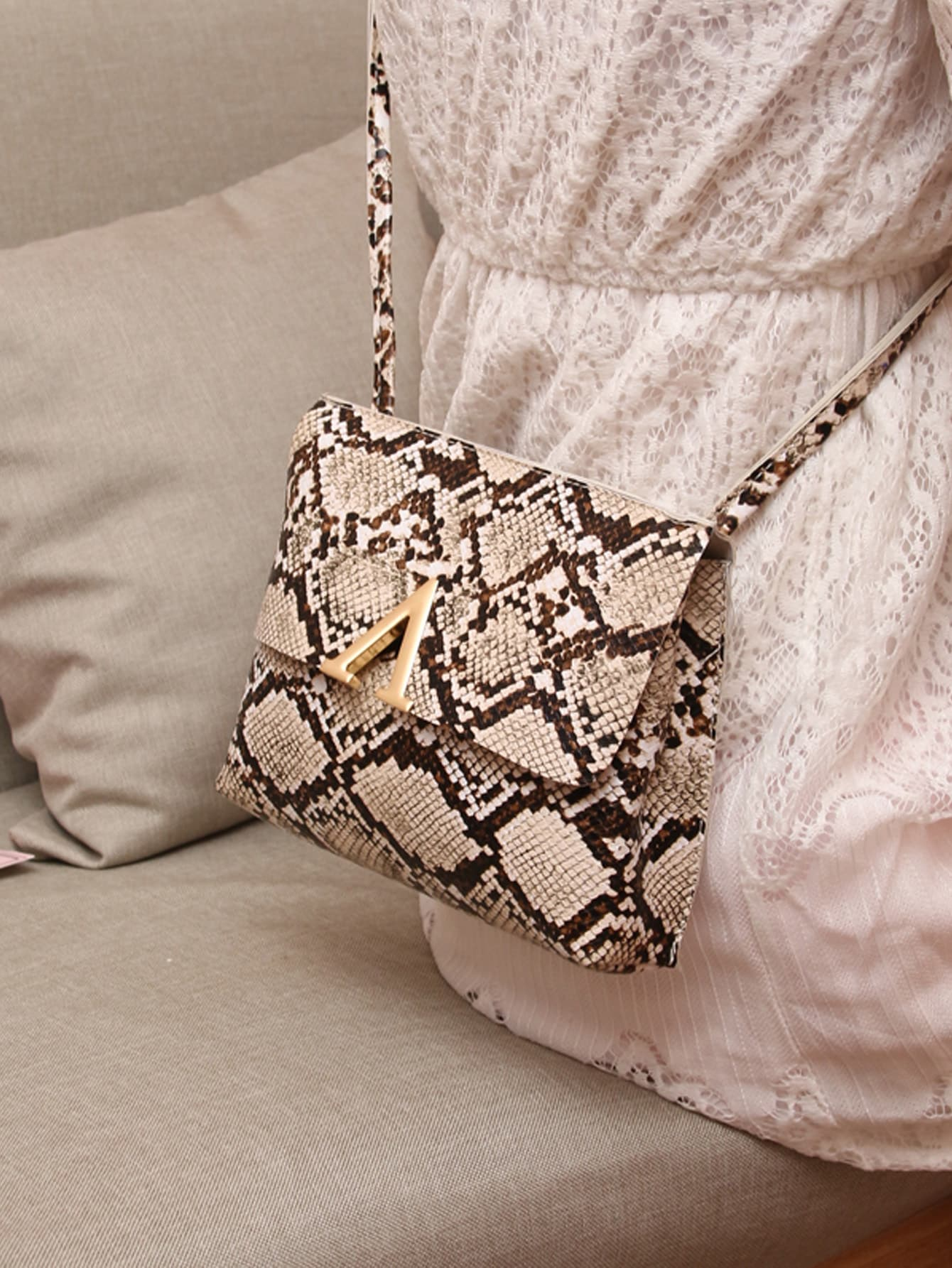 V Cut Snakeskin Print Bag