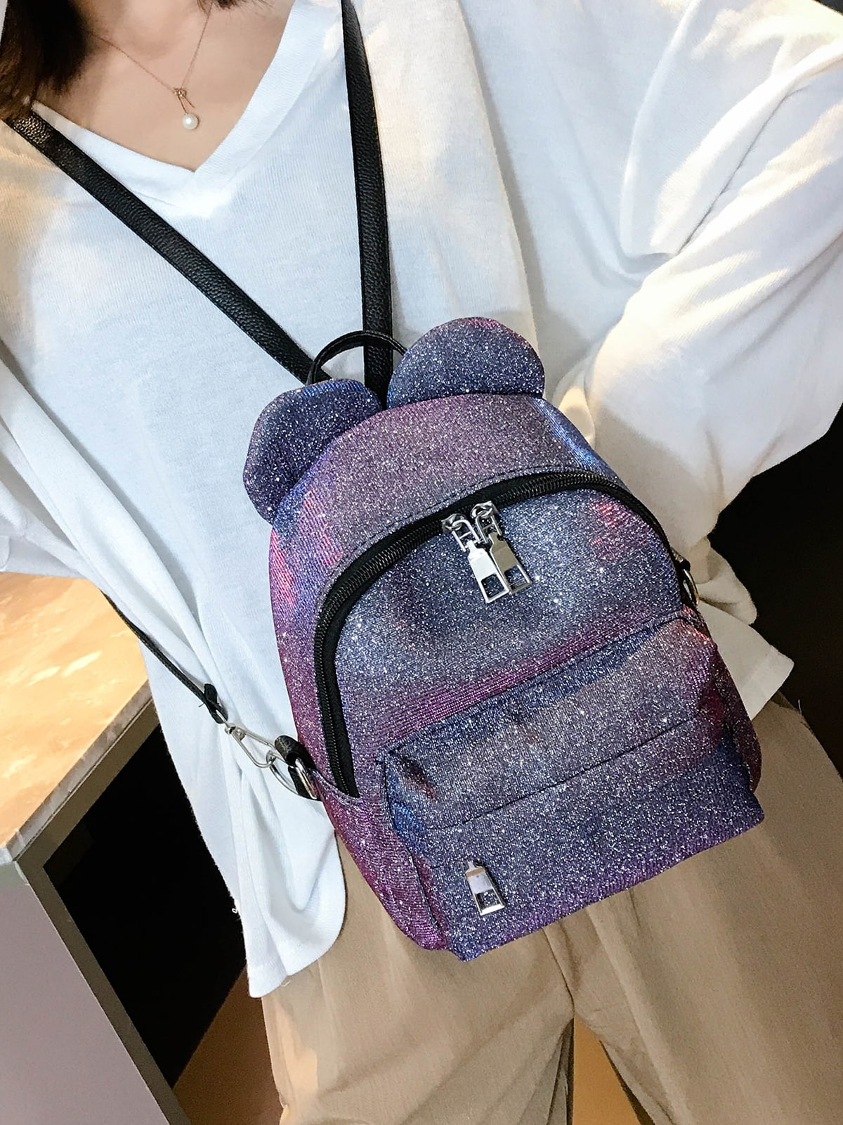 Double Ear Decor Glitter Backpack