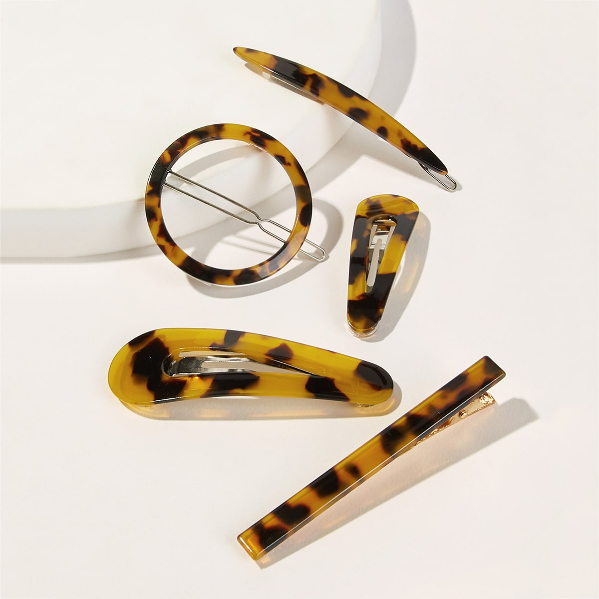 Tortoiseshell Hair Clip Set 5pack