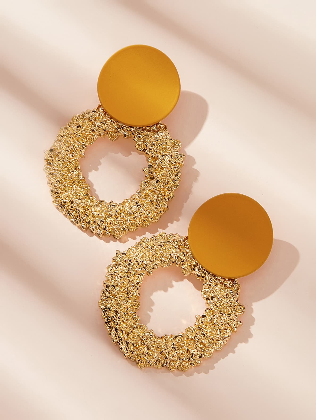 Two Tone Textured Hoop Earrings 1pair