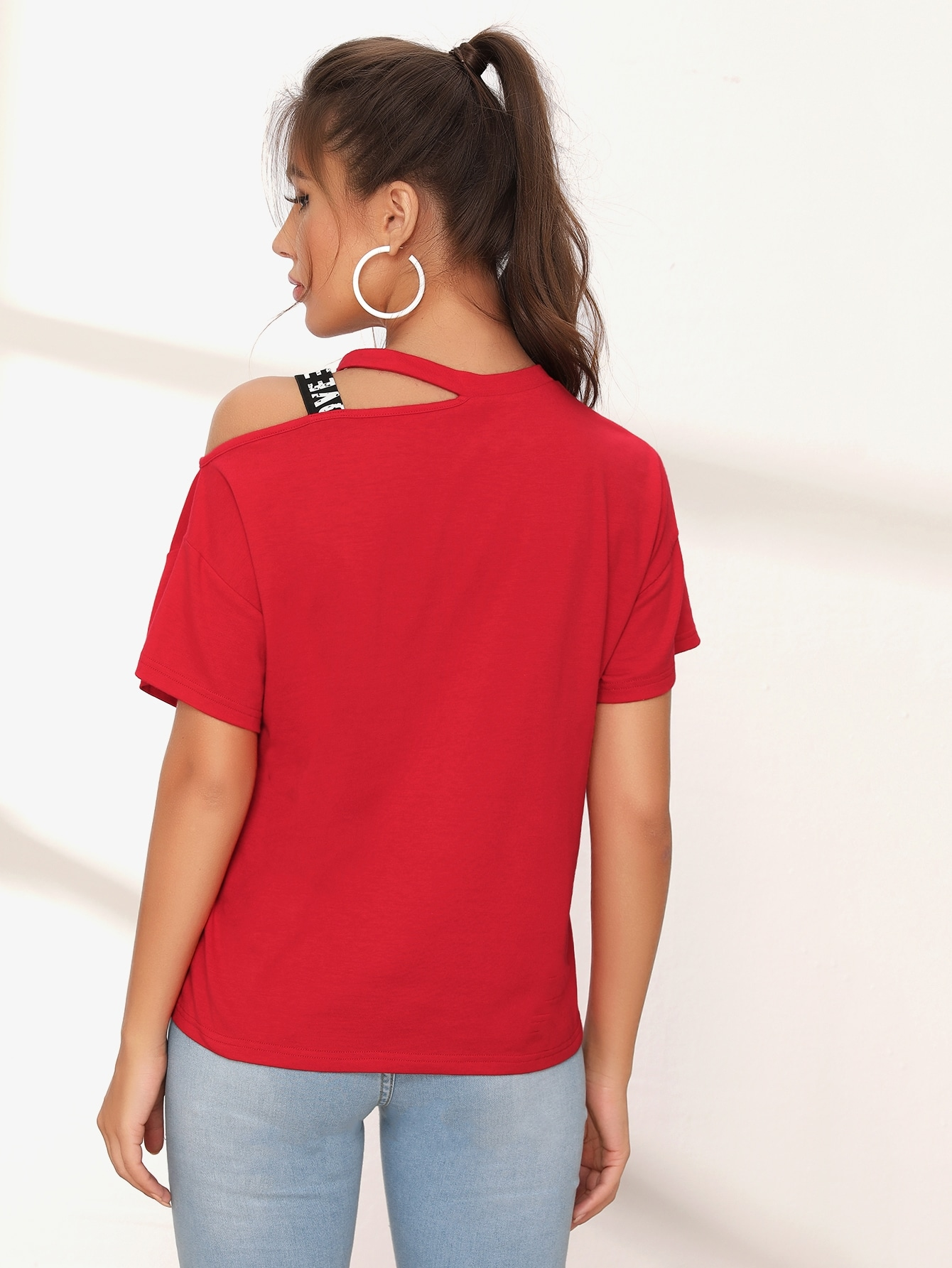 Asymmetrical Neck Slogan Print Letter Tape Tee