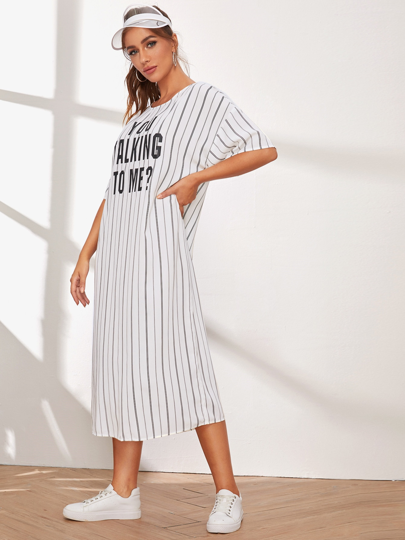 Drop Shoulder Striped & Slogan Print Tunic Dress