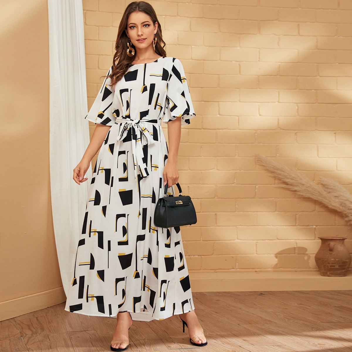 Bell Sleeve Self Belted Geo Dress