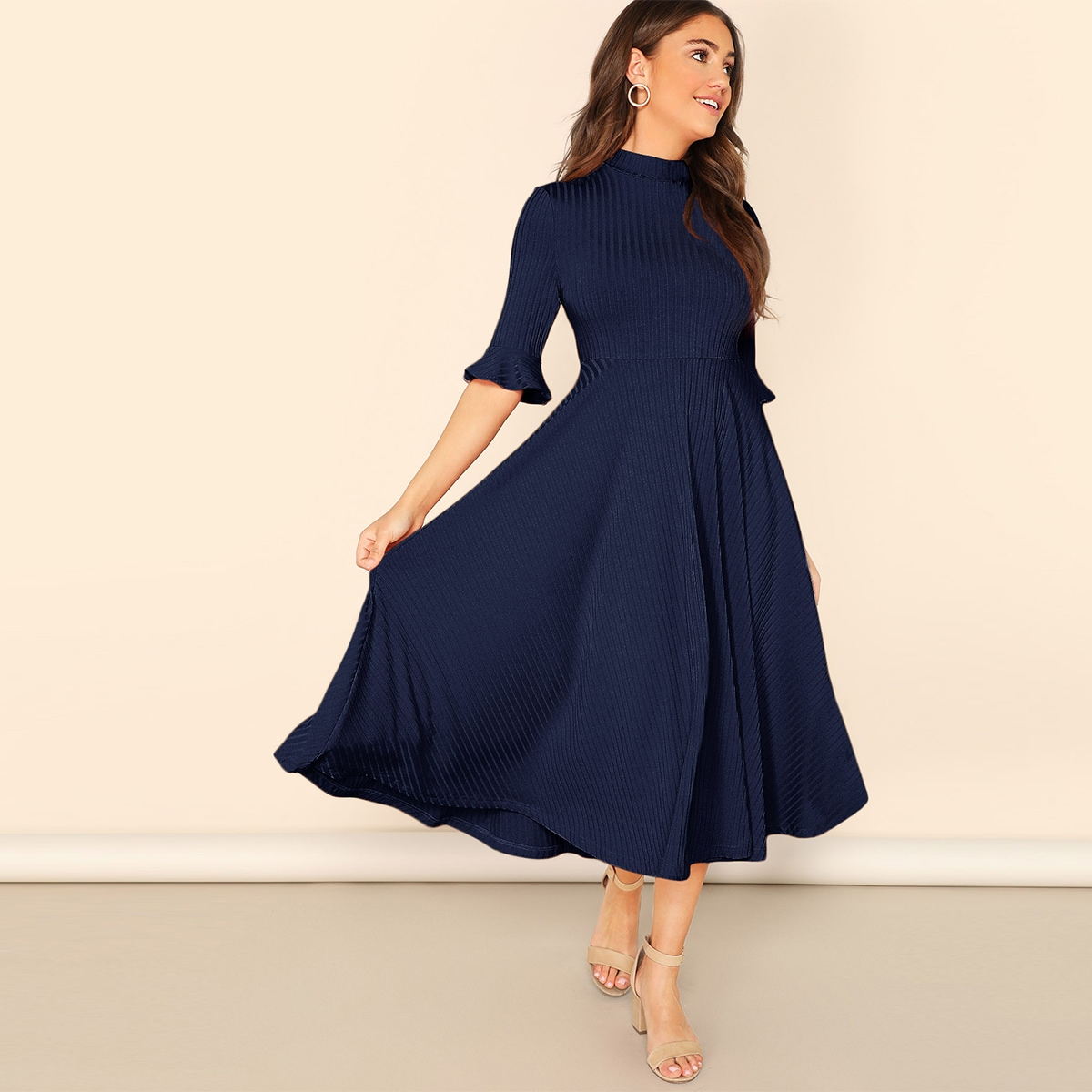 Rib-Knit Mock-neck Trumpet Sleeve Dress