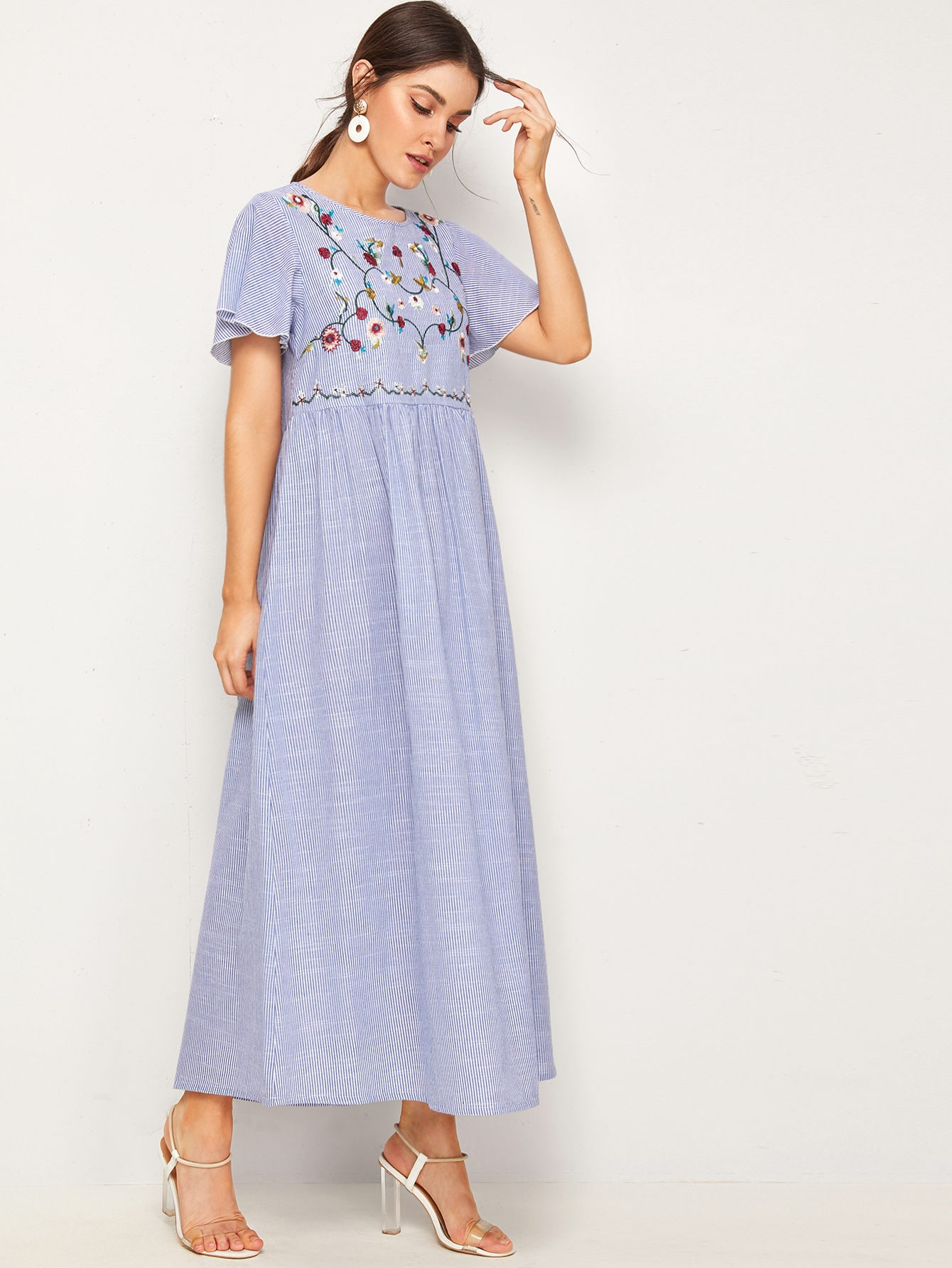 Striped Embroidered Flower Flutter Sleeve Dress