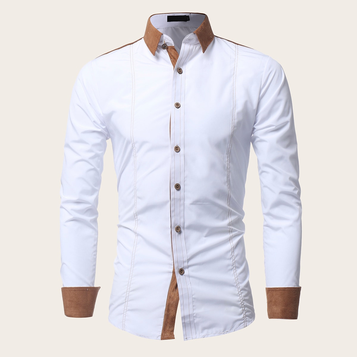 Men Contrast Binding Button Front Shirt