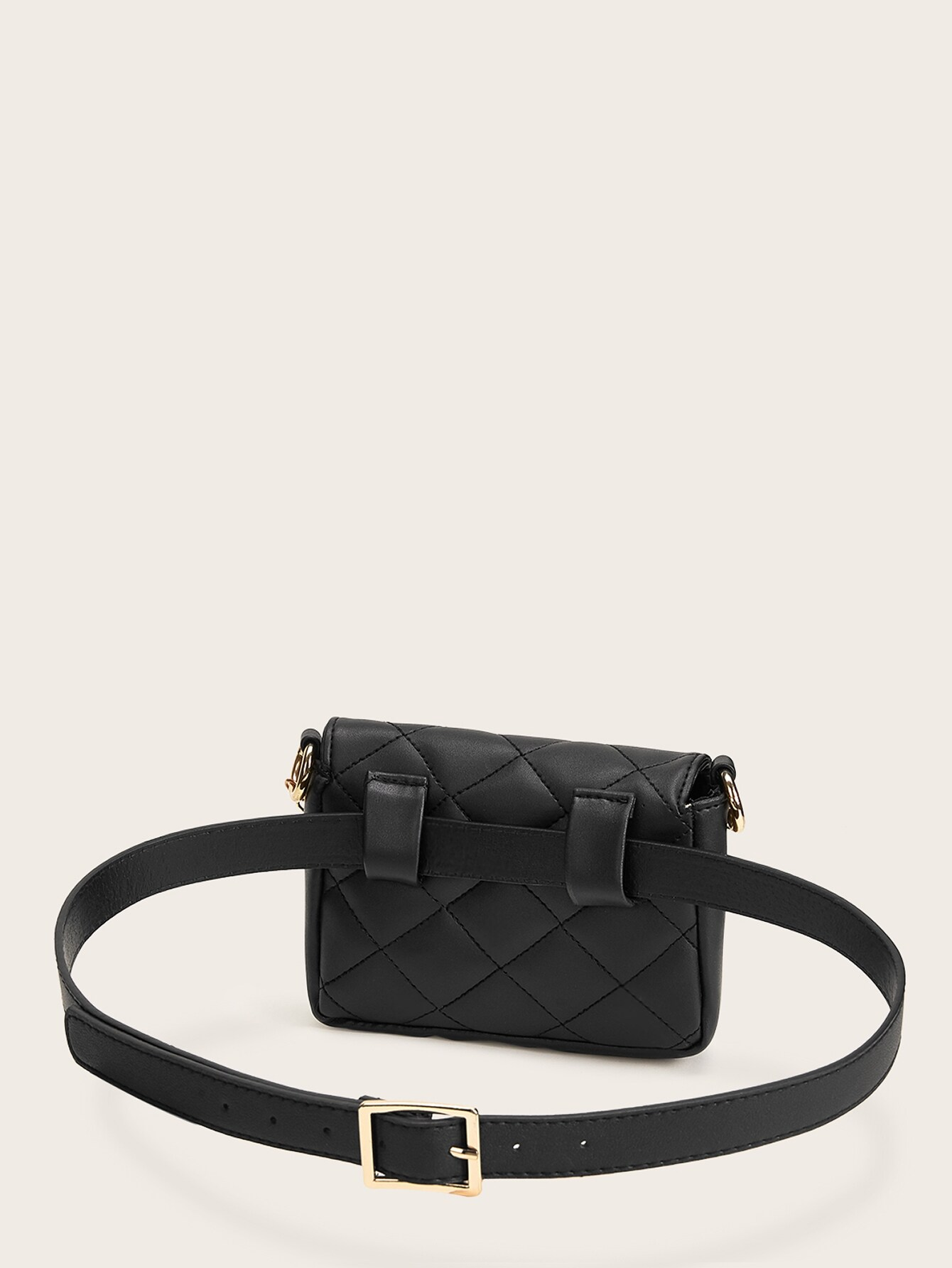 Quilted Flap Fanny Pack With Chain