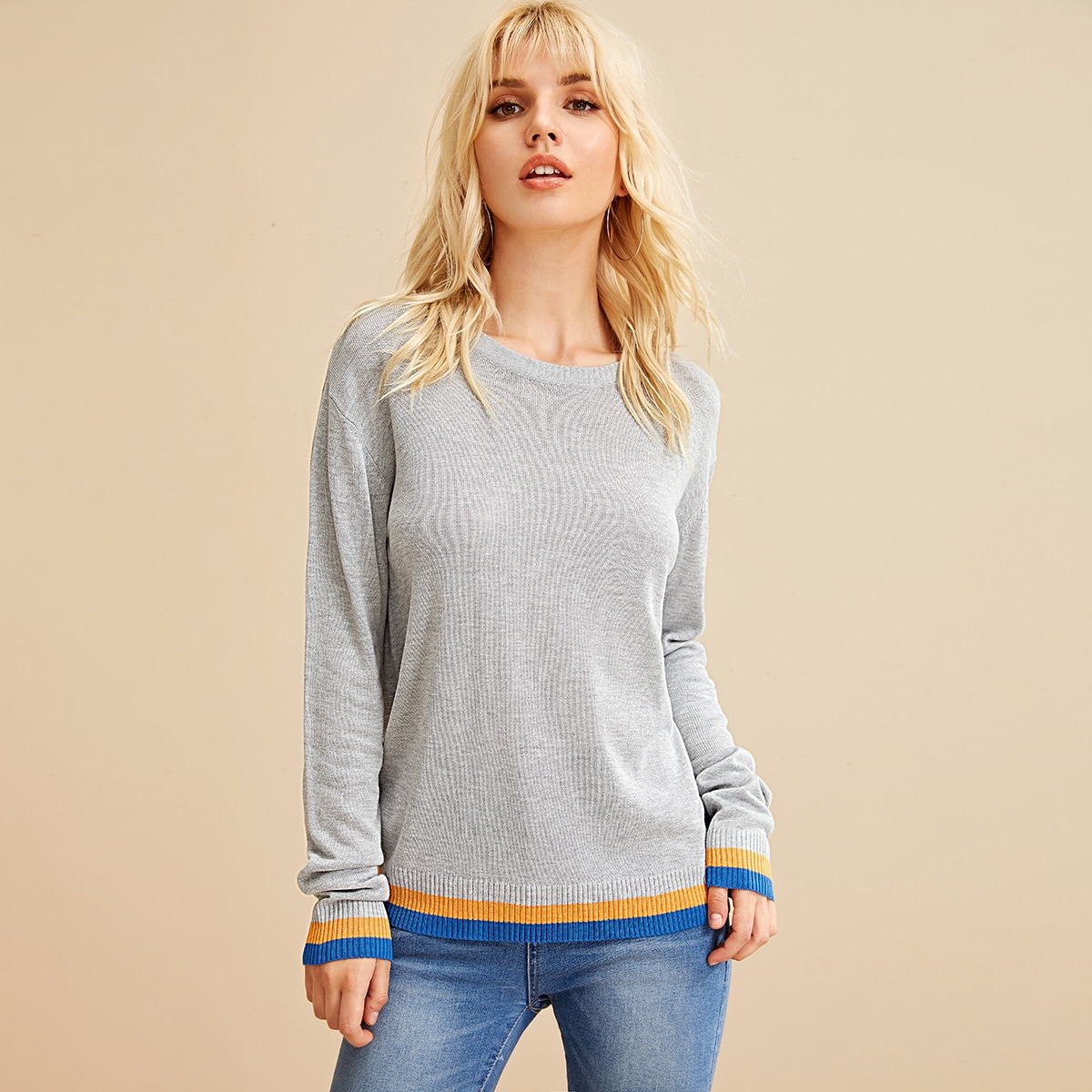 Drop Shoulder Striped Hem Knit Top