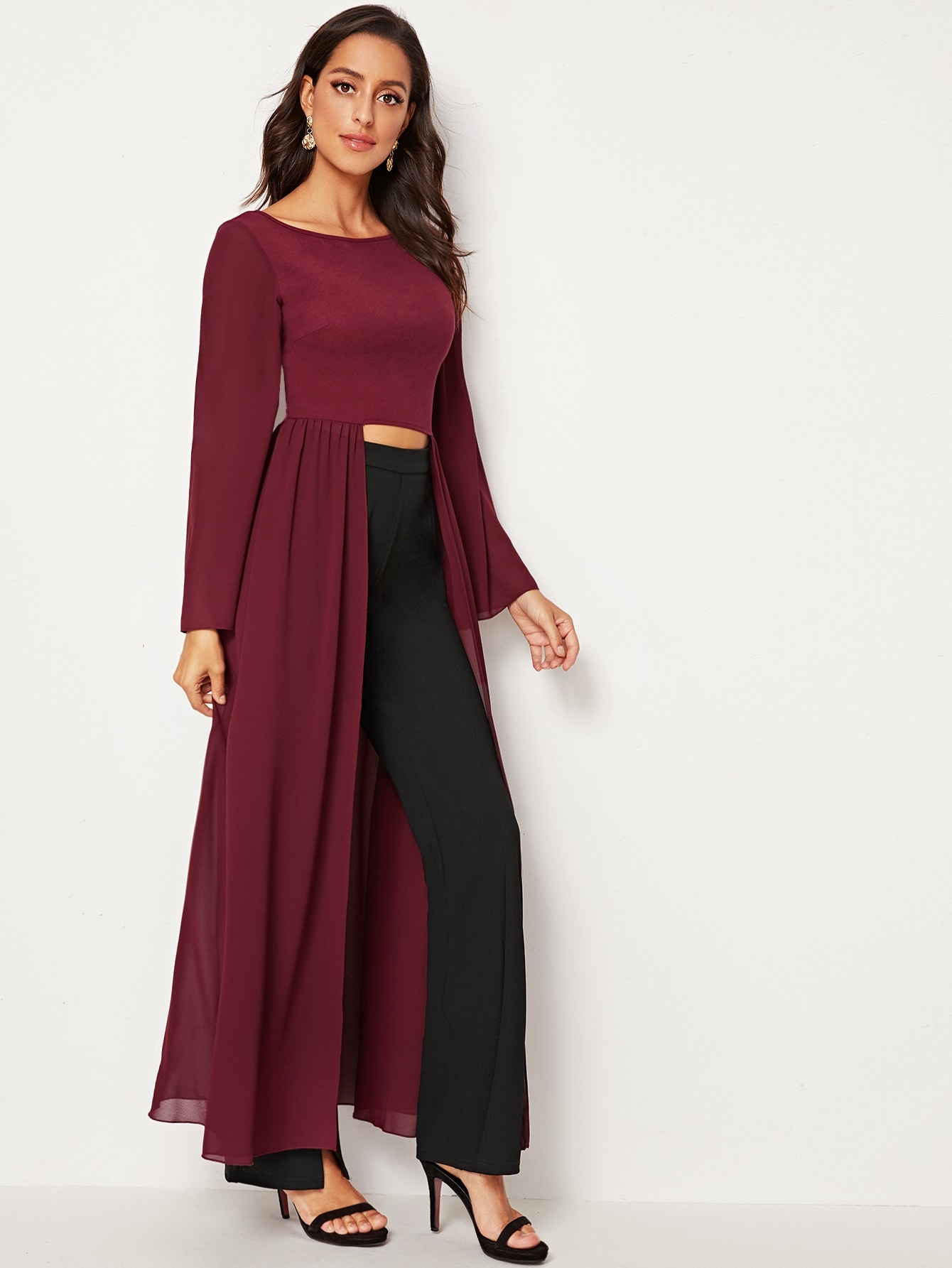Bell Sleeve High Low Solid Top
