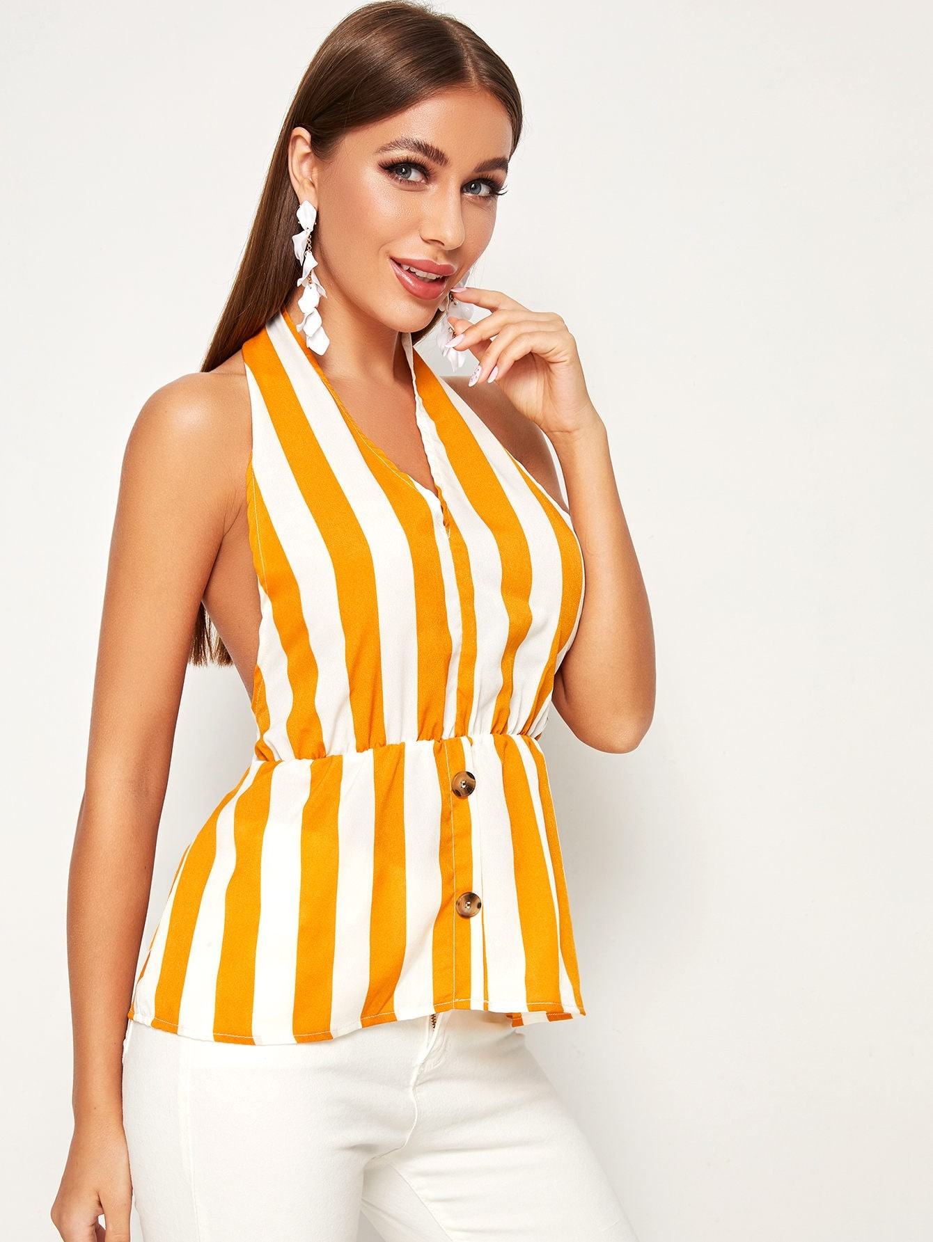 Striped Button Front Tie Back Halter Top