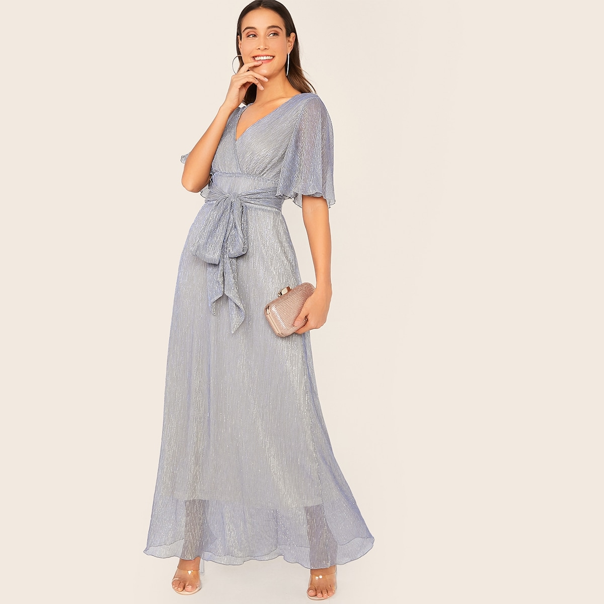 Surplice Neck Shirred Waist Belted Glitter Dress