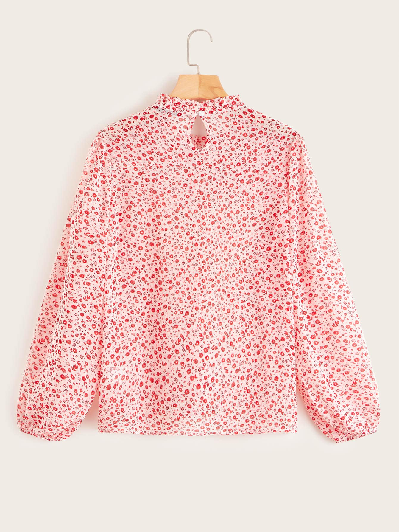 Ditsy Floral Frill Trim Keyhole Back Shirred Top