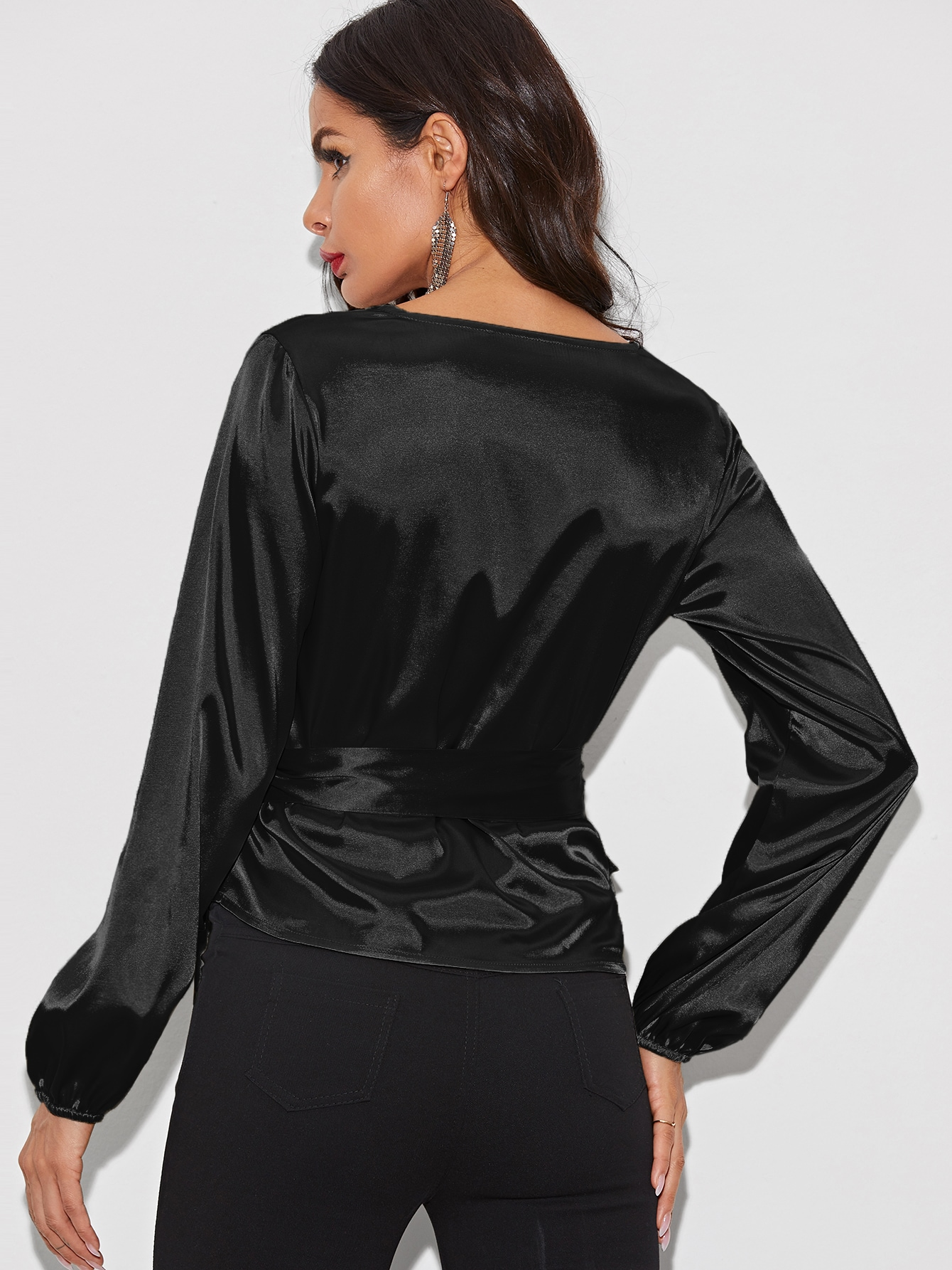 Wrap Knotted Satin Blouse