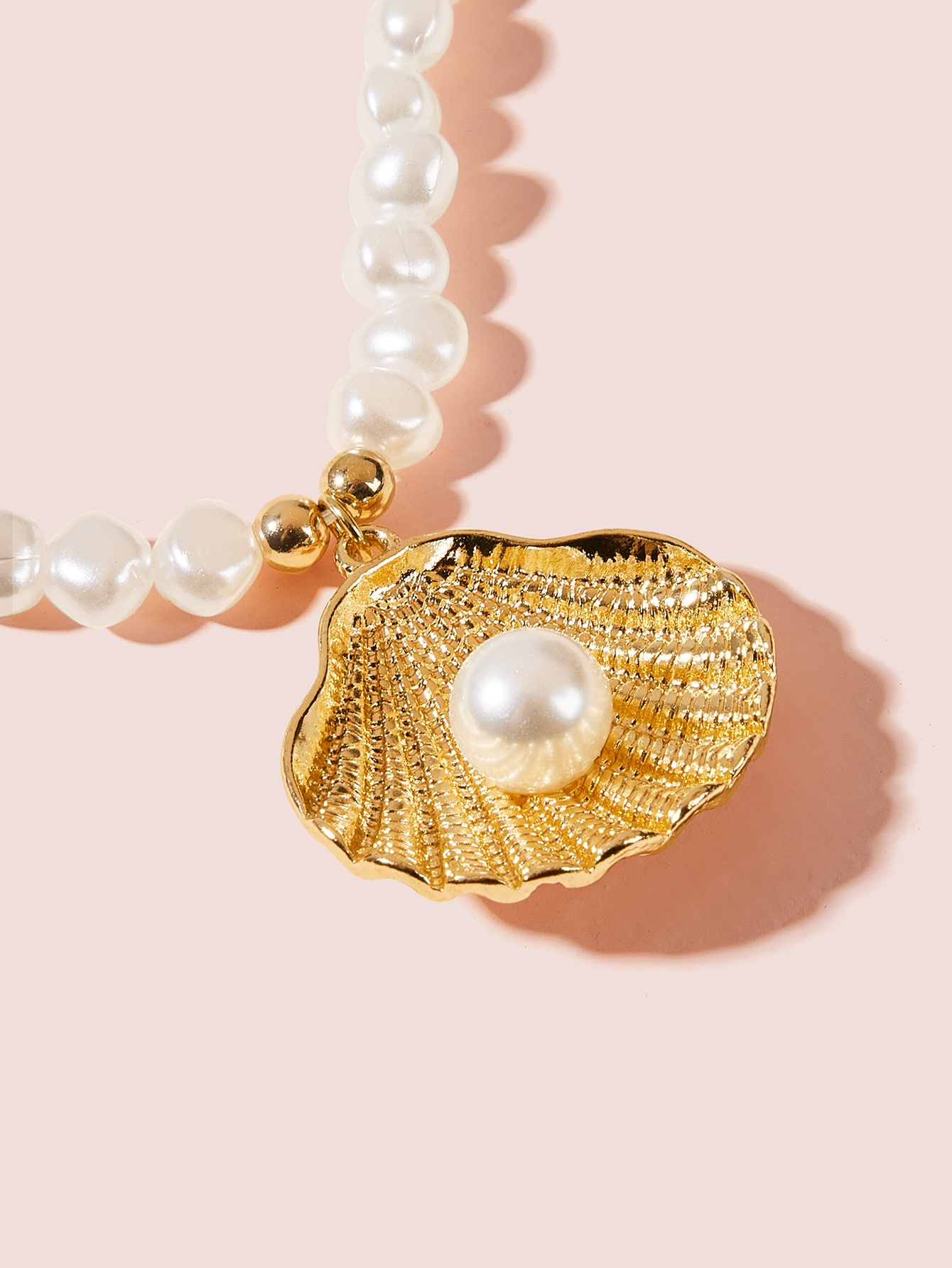 Shell Charm Faux Pearl Beaded Necklace 1pc