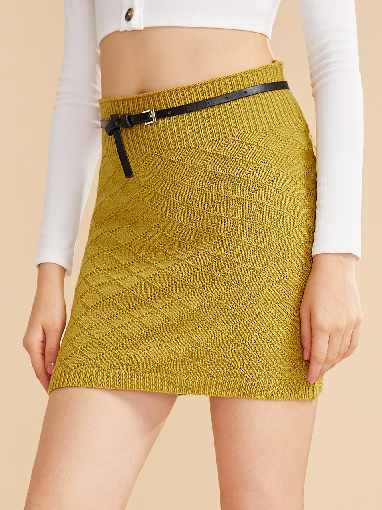 Belted Ribbed Knit Sheath Sweater Skirt
