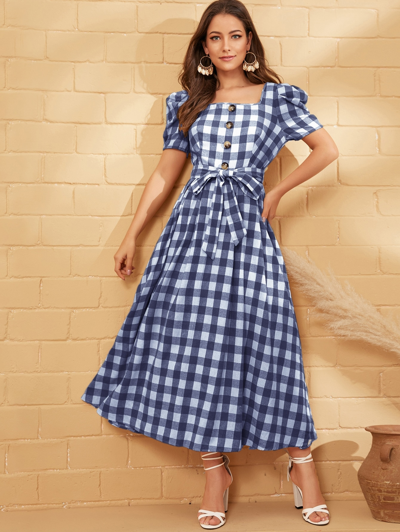 Buttoned Puff Sleeve Belted Gingham Dress