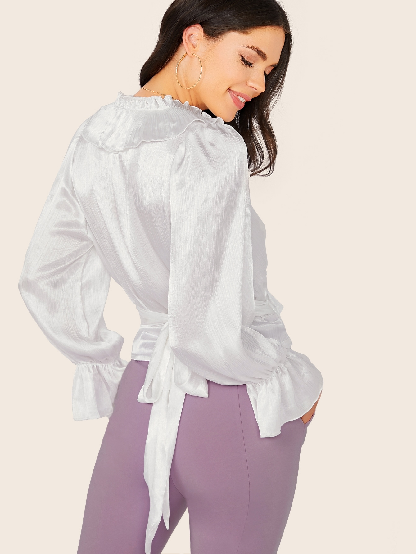Tie Back Pleated Ruffle Trim Satin Top
