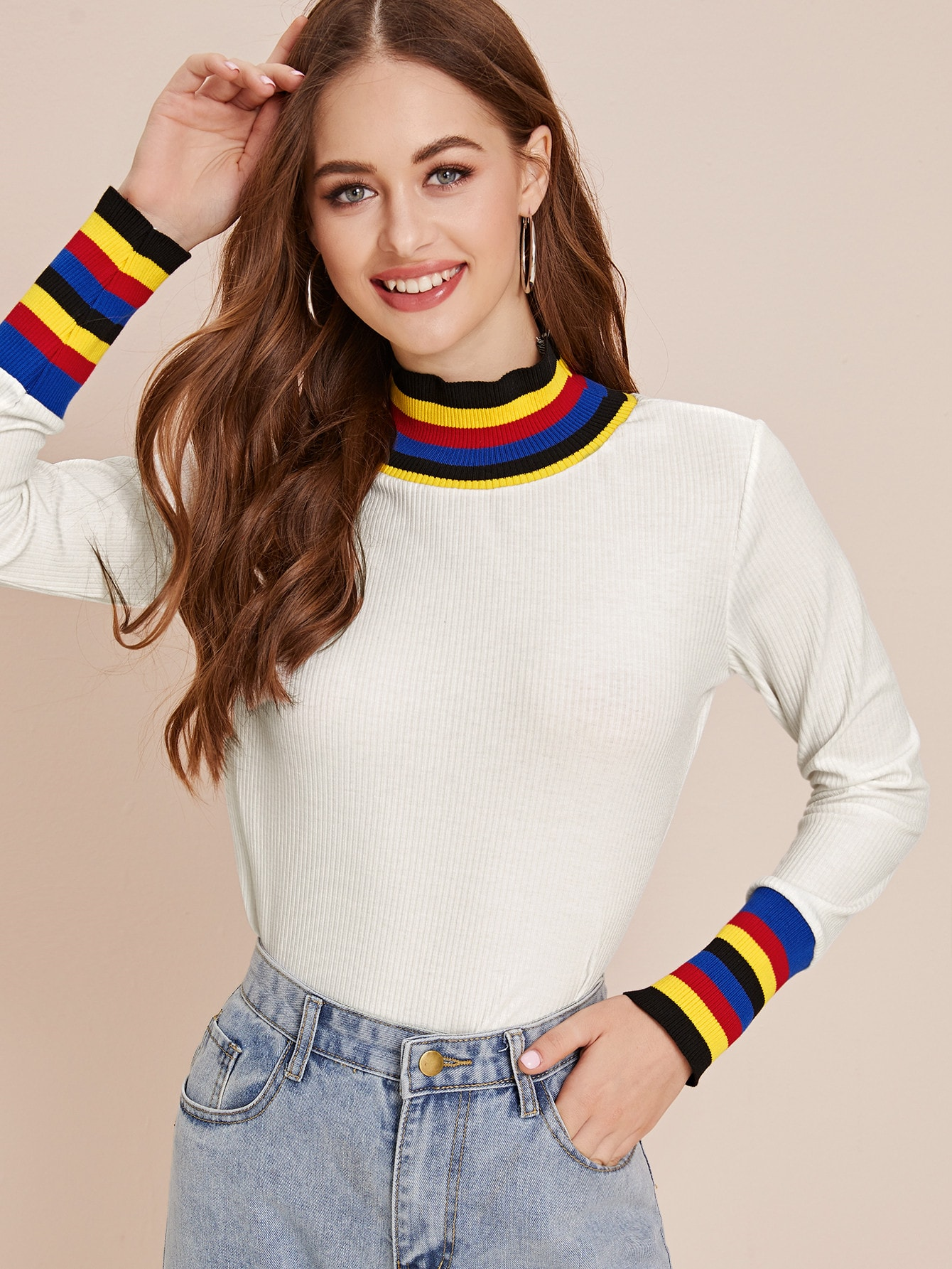 Colorful Striped Cuff & Collar Ribbed Tee