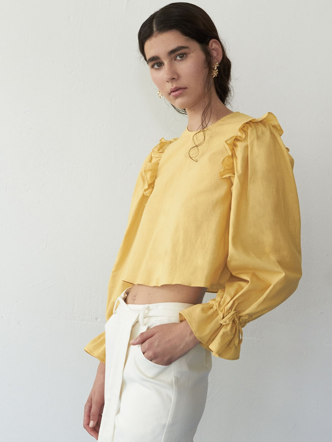 Ruffle Trim Drawstring Cuff Top