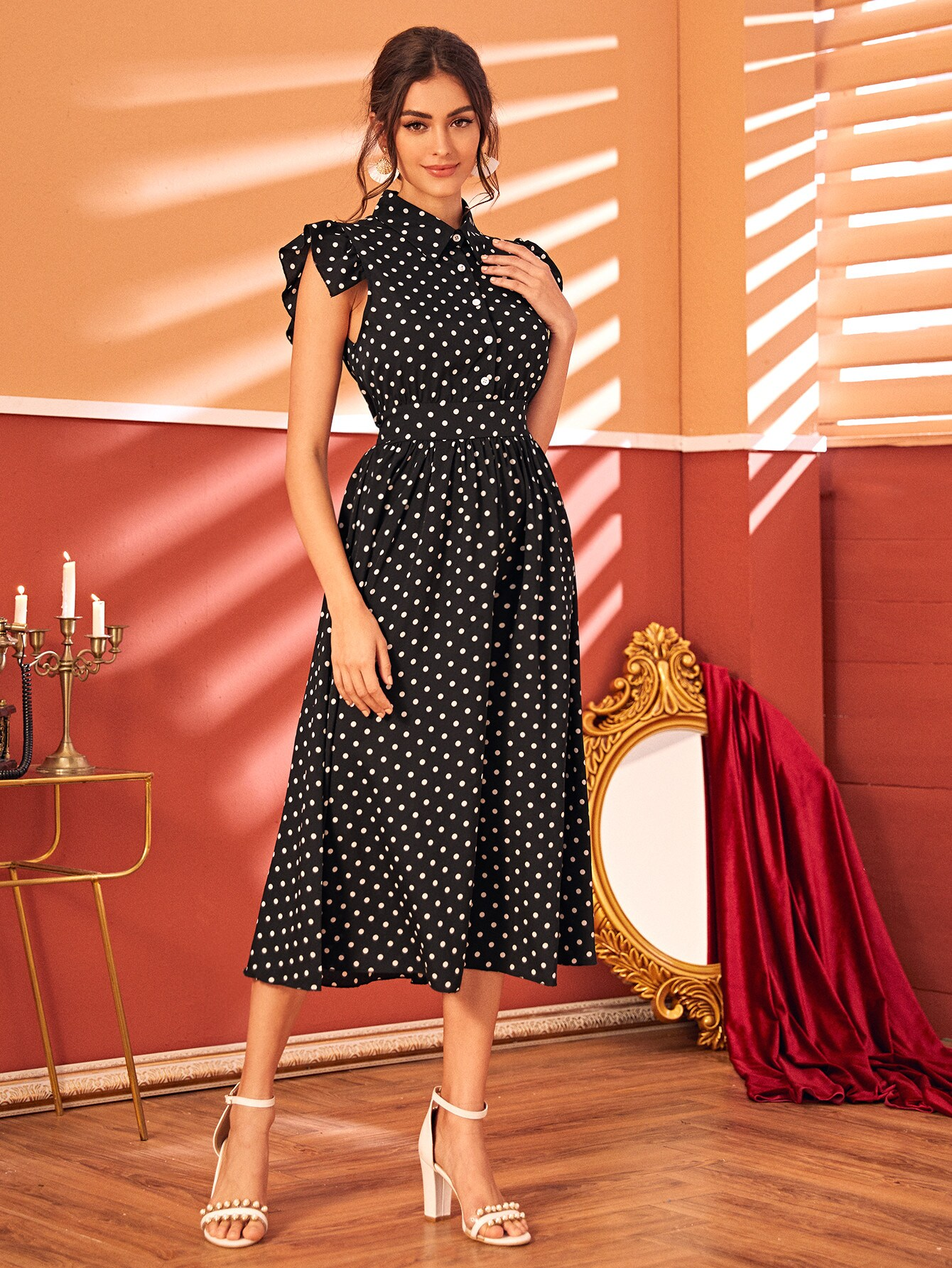 Polka Dot Cap Sleeve Half Button A-line Dress