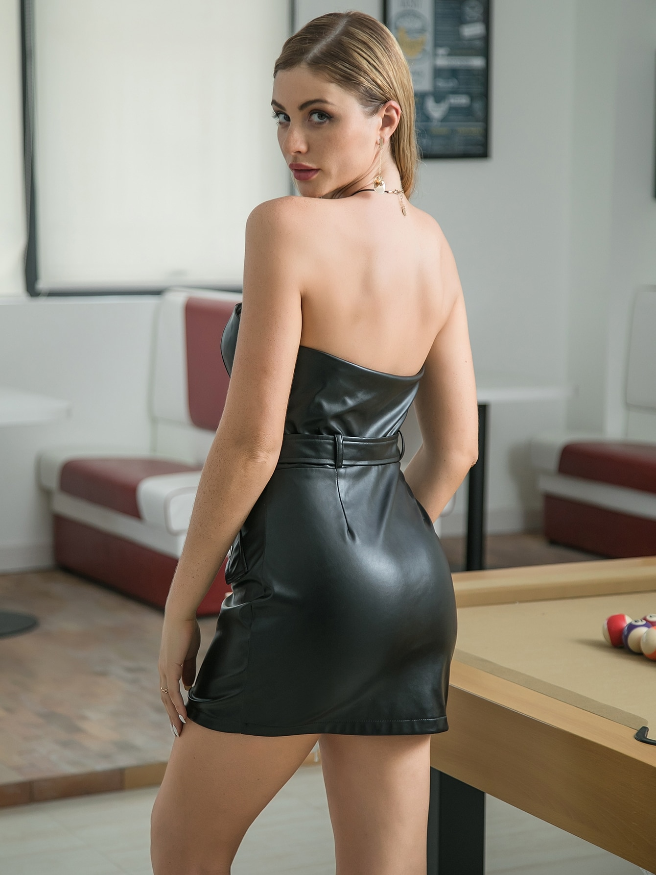 Double Crazy Zip Front Flap Belted PU Leather Tube Dress