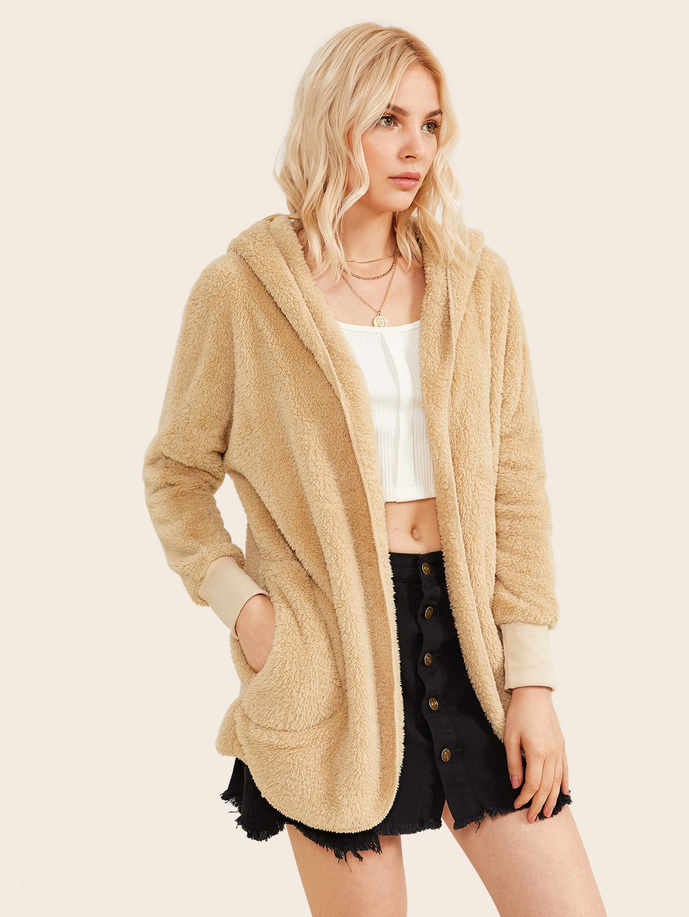 Dual Pocket Front Open Front Teddy Hooded Coat