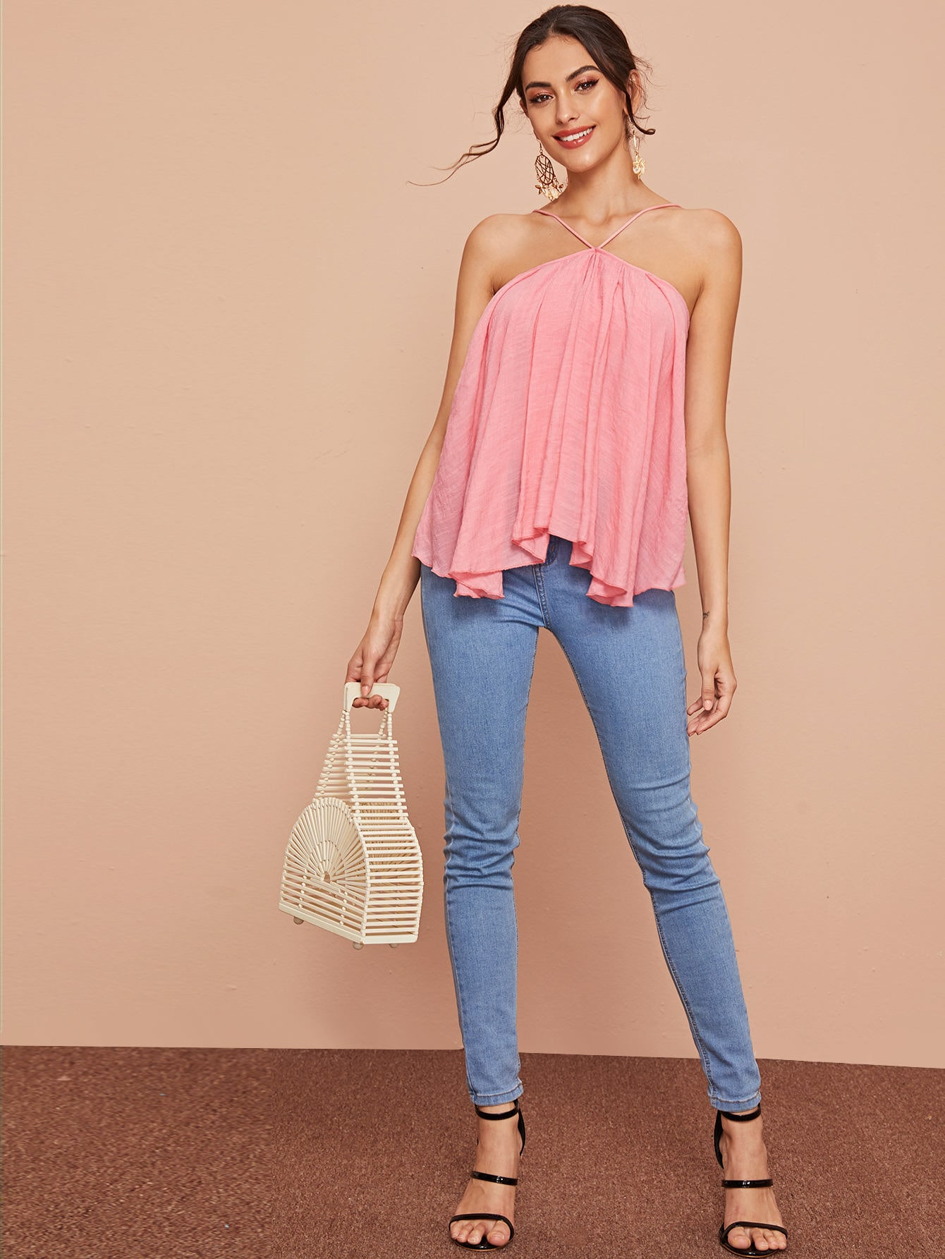 Lace Up Backless Ruffle Trim Top