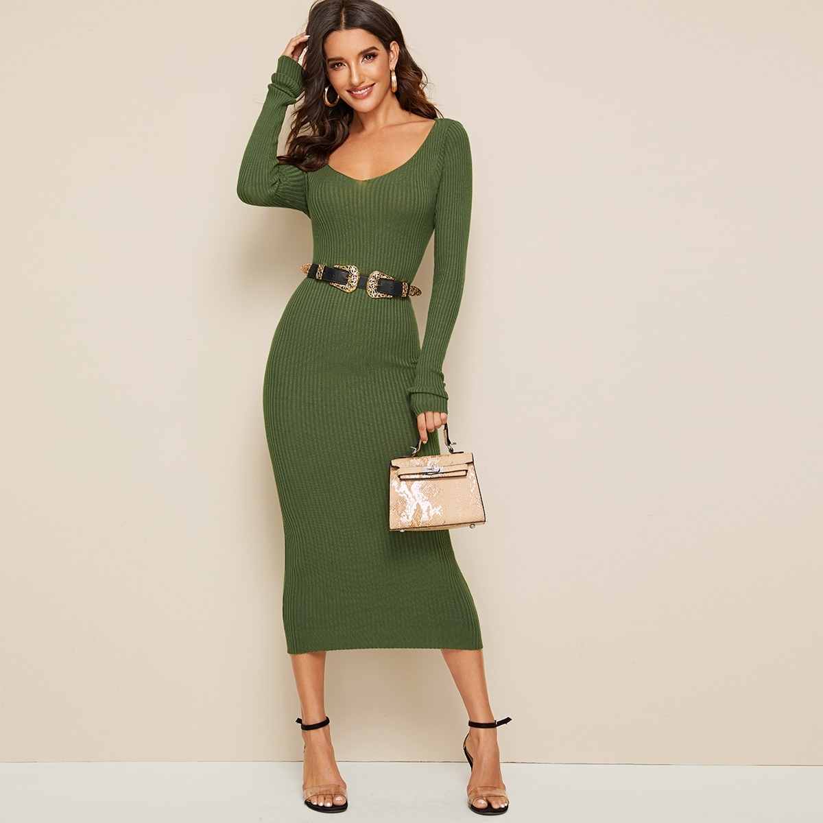 Solid V-neck Sweater Dress Without Belt