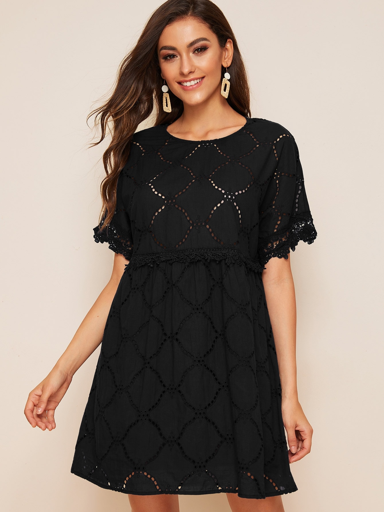 Guipure Lace Trim Schiffy Smock Dress