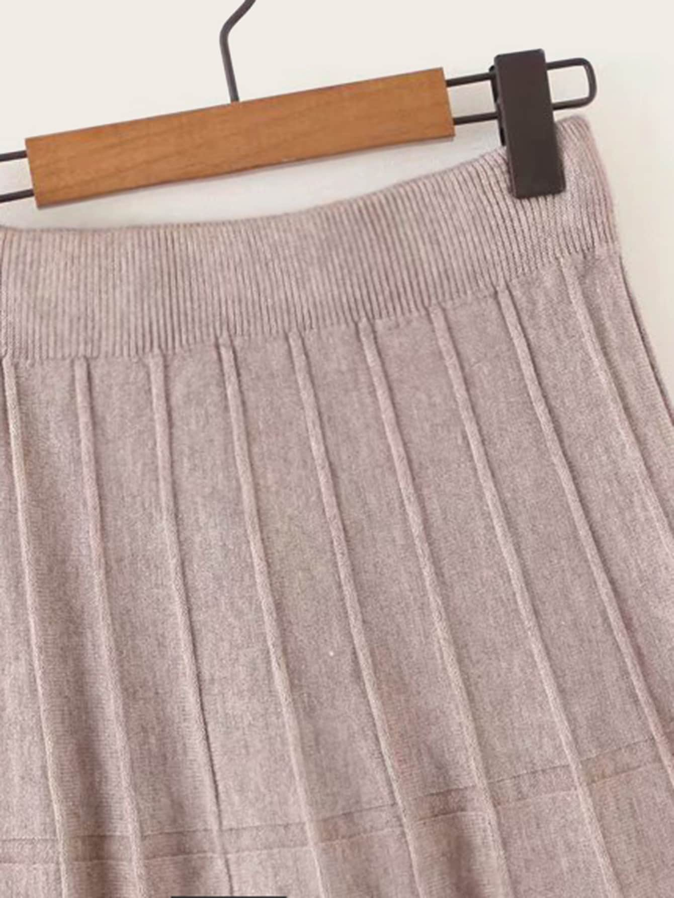 Solid Flare Longline Sweater Skirt