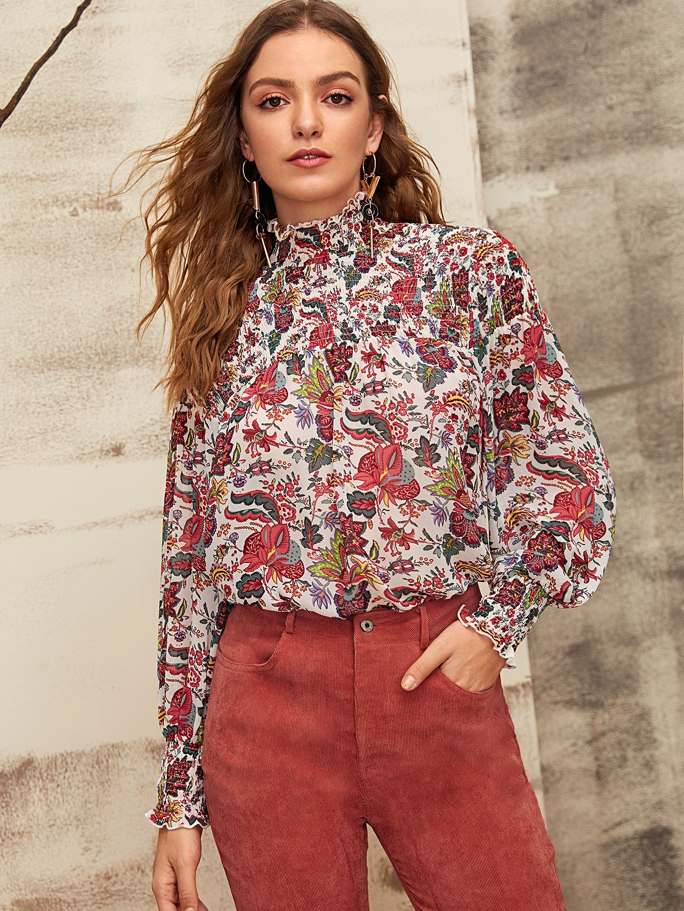 High Neck Shirred Trim Lantern Sleeve Floral Blouse