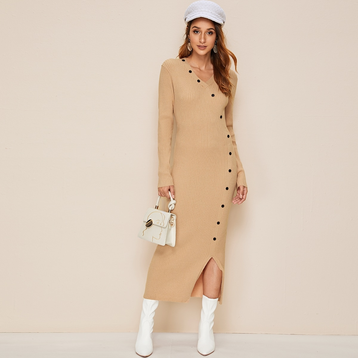 Button Front Slit Hem Rib-knit Sweater Dress