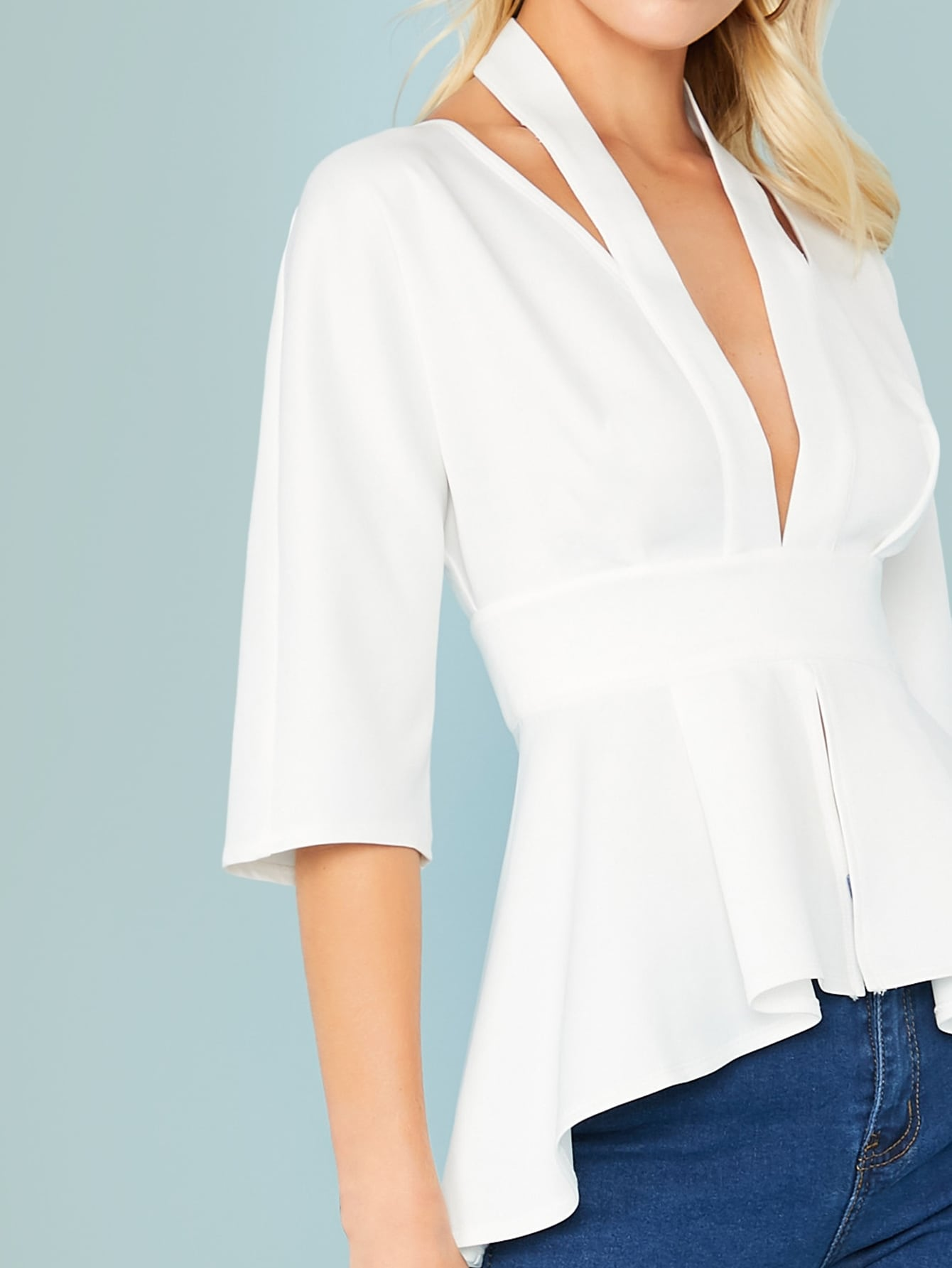 Solid Plunge Neck Cut Out Back Peplum Top