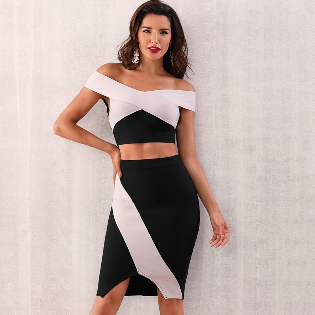 Adyce Two Tone Bardot Top & Slit Hem Skirt Set