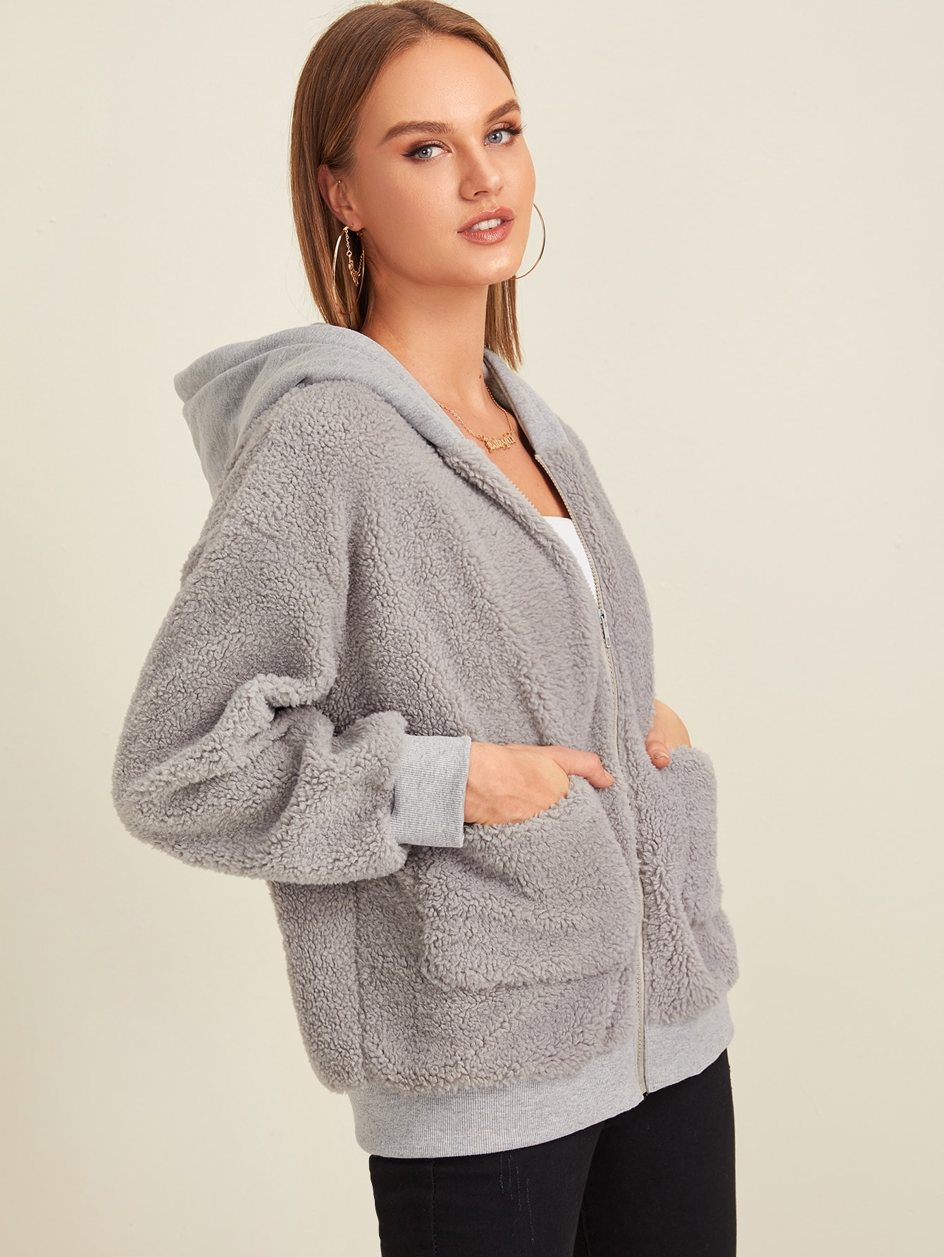 Pocket Side Hooded Teddy Jacket