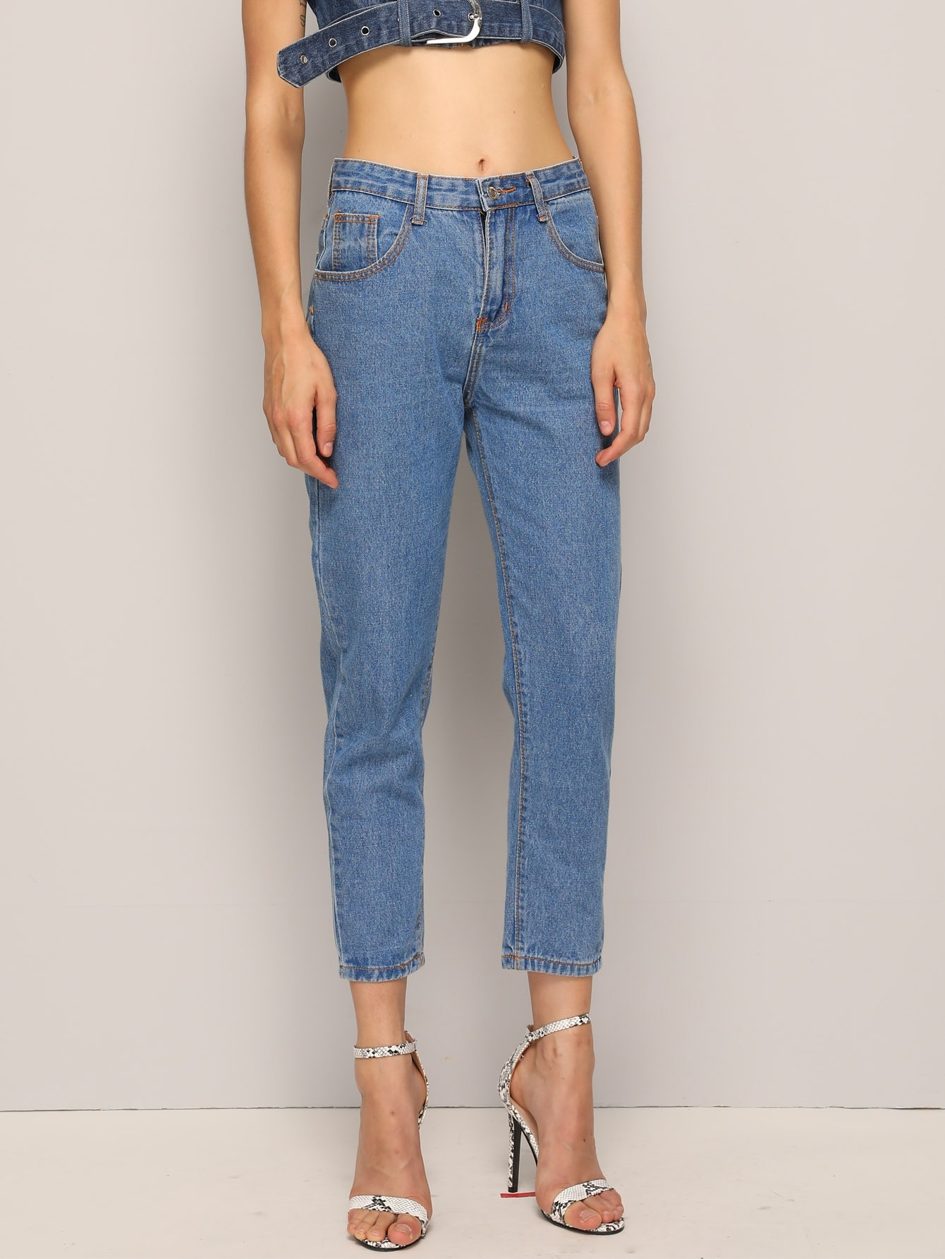 Blue Wash Cropped Jeans