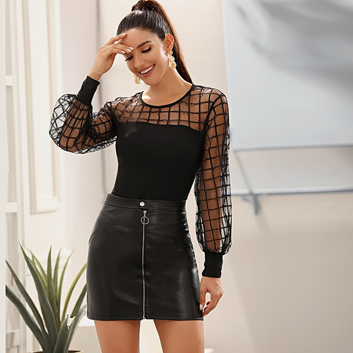 Bishop Sleeve Sheer Mesh Yoke Top