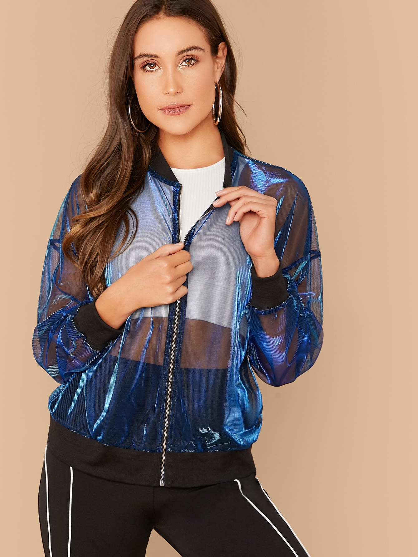 Zip Front Sheer Mesh Bomber Jacket