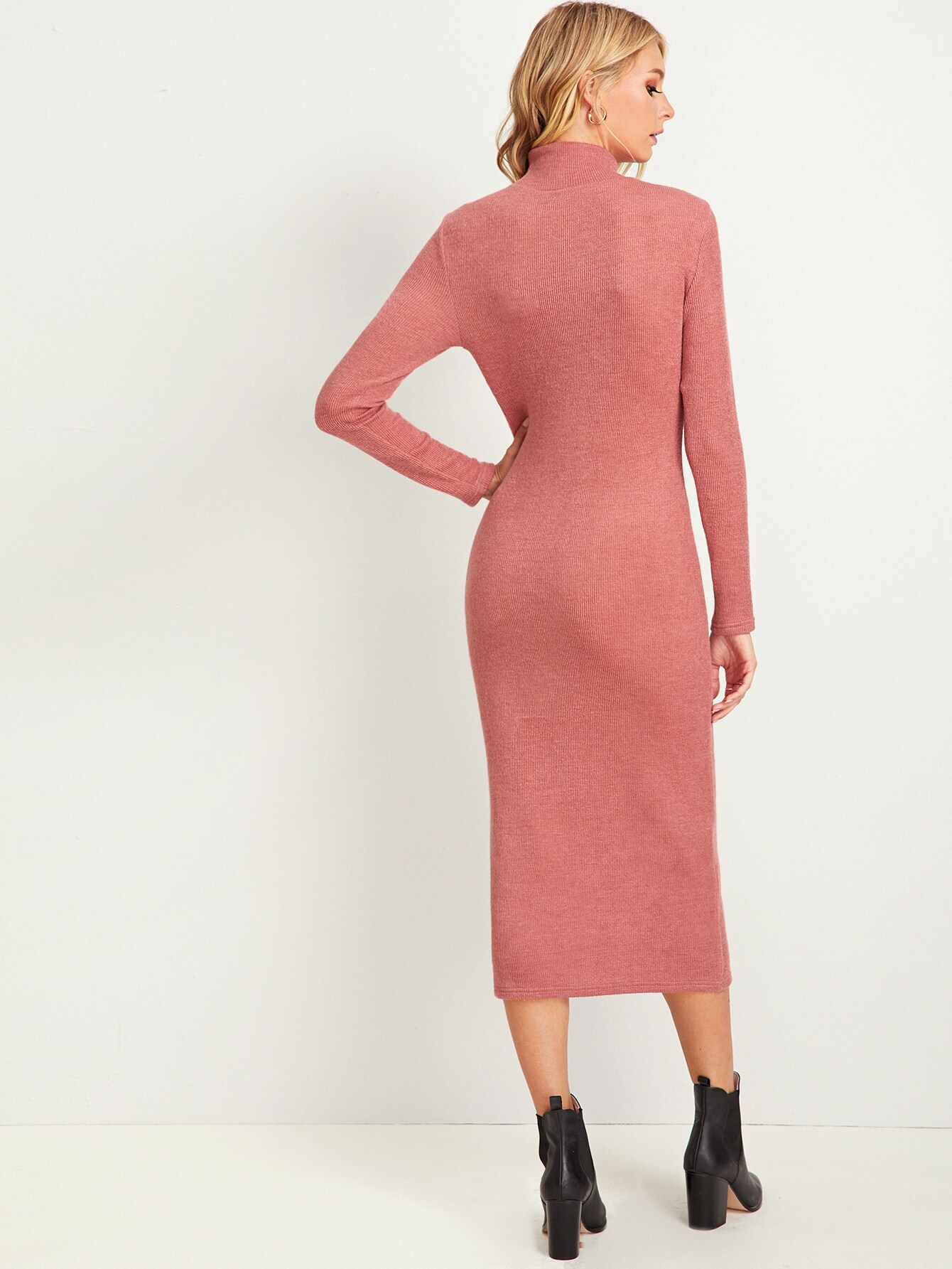 Solid High Neck Rib-knit Dress