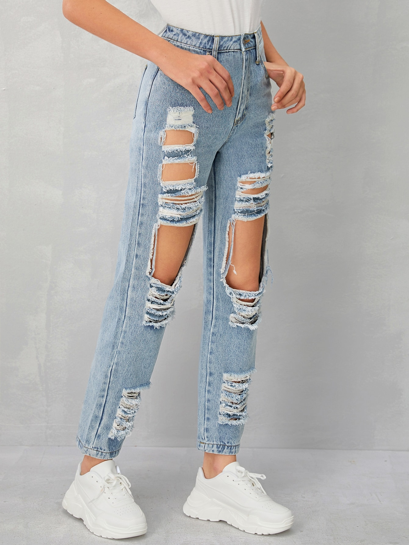 Bleach Wash Raw Hem Ripped Boyfriend Jeans