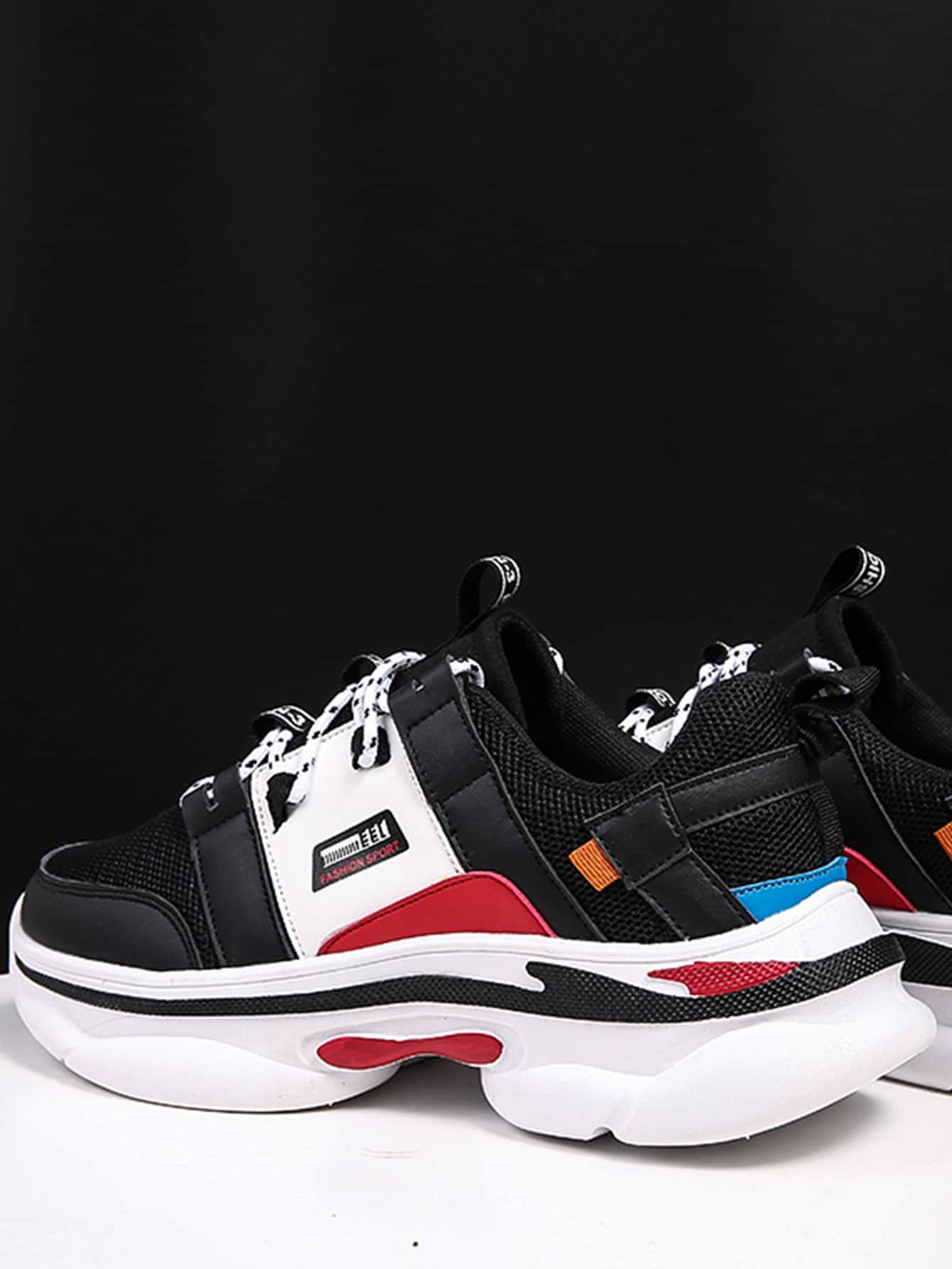 Men Letter Pattern Chunky Sole Sneakers