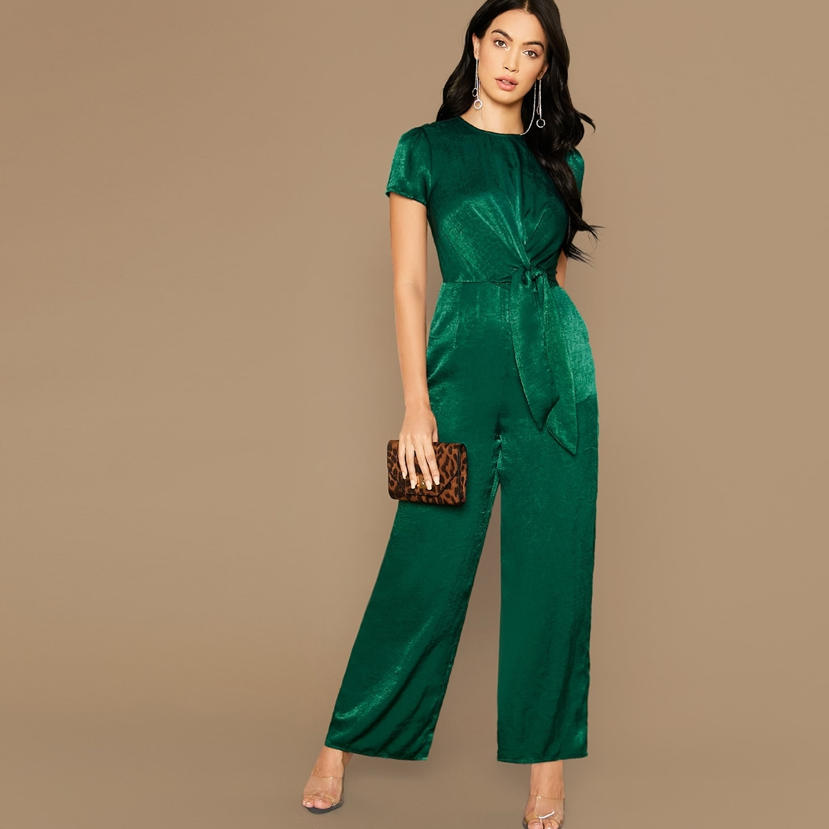 Tie Front Wide Leg Satin Jumpsuit