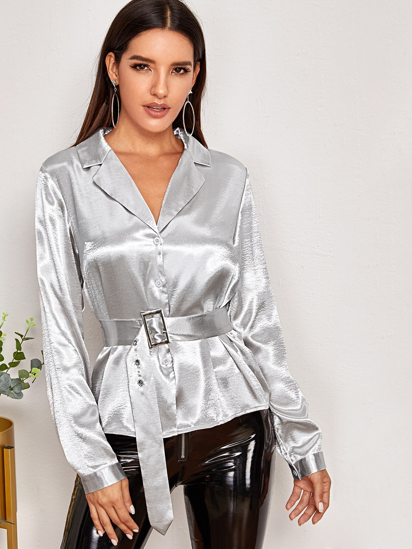 Stain Lapel Collar Buckle Belted Blouse