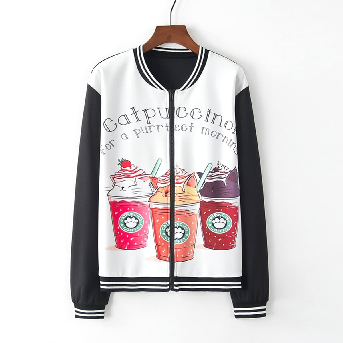 Contrast Striped Letter And Cartoon Print Baseball Jacket